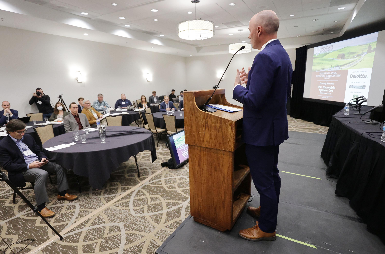 Utah Gov. Spencer Cox speaks during a Western Governors' Association workshop in Salt Lake City on Wednesday, Sept. 29, 2021.