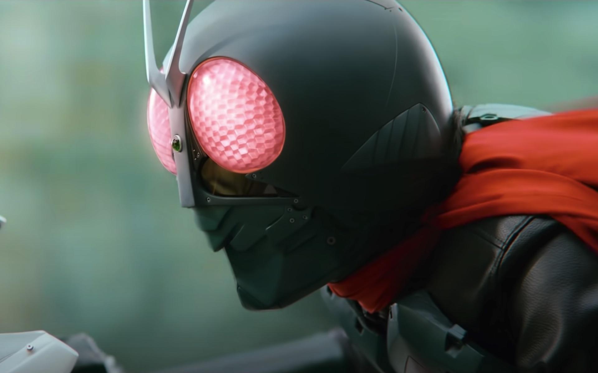 A closeup shot of Kamen Rider from Hideaki Anno's Shin Kamen Rider
