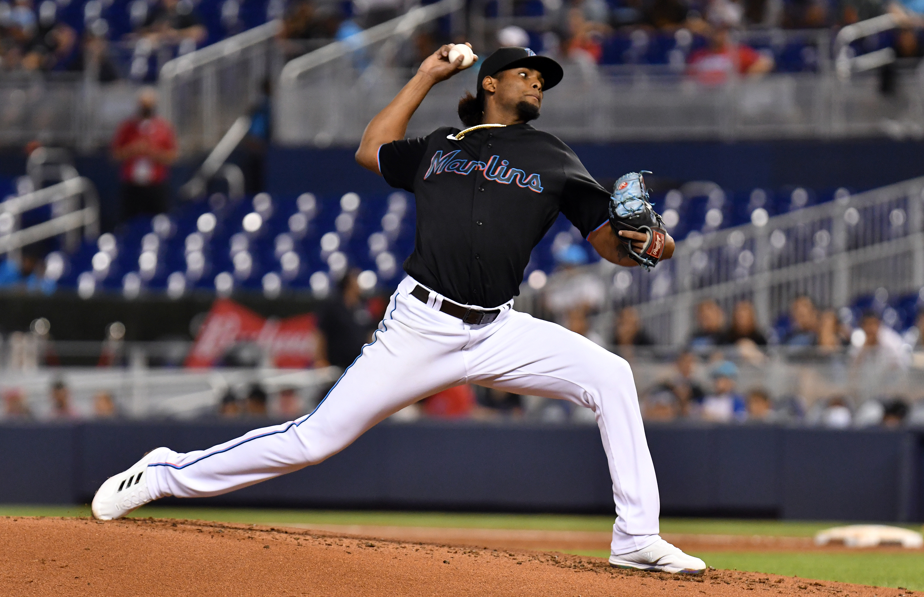 Miami Marlins pitcher Edward Cabrera (79) throws against the Pittsburgh Pirates during the second inning at loanDepot Park.