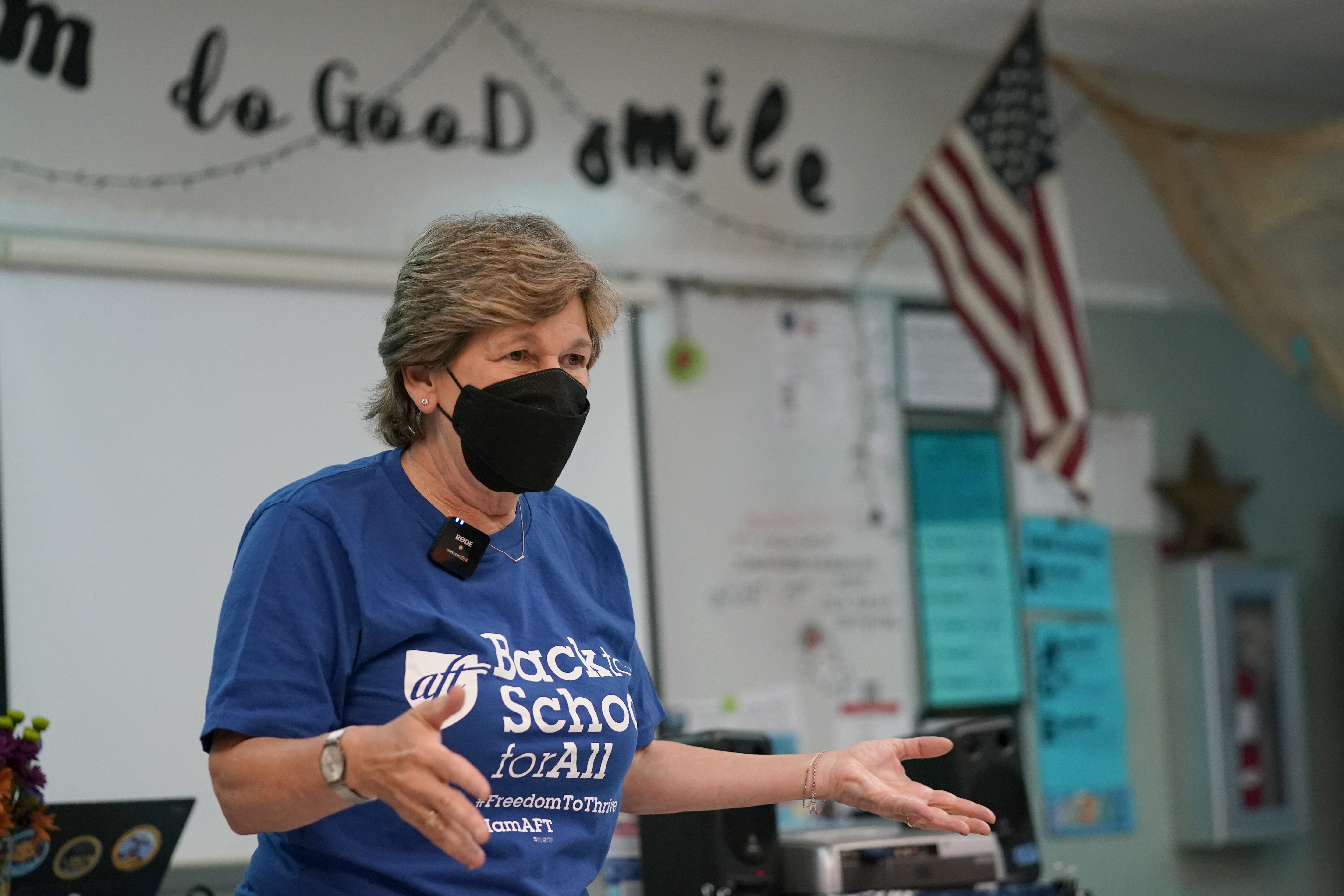 American Federation of Teachers President Randi Weingarten speaks to students at the New River Middle School, Thursday, Sept. 2, 2021, in Fort Lauderdale, Florida.