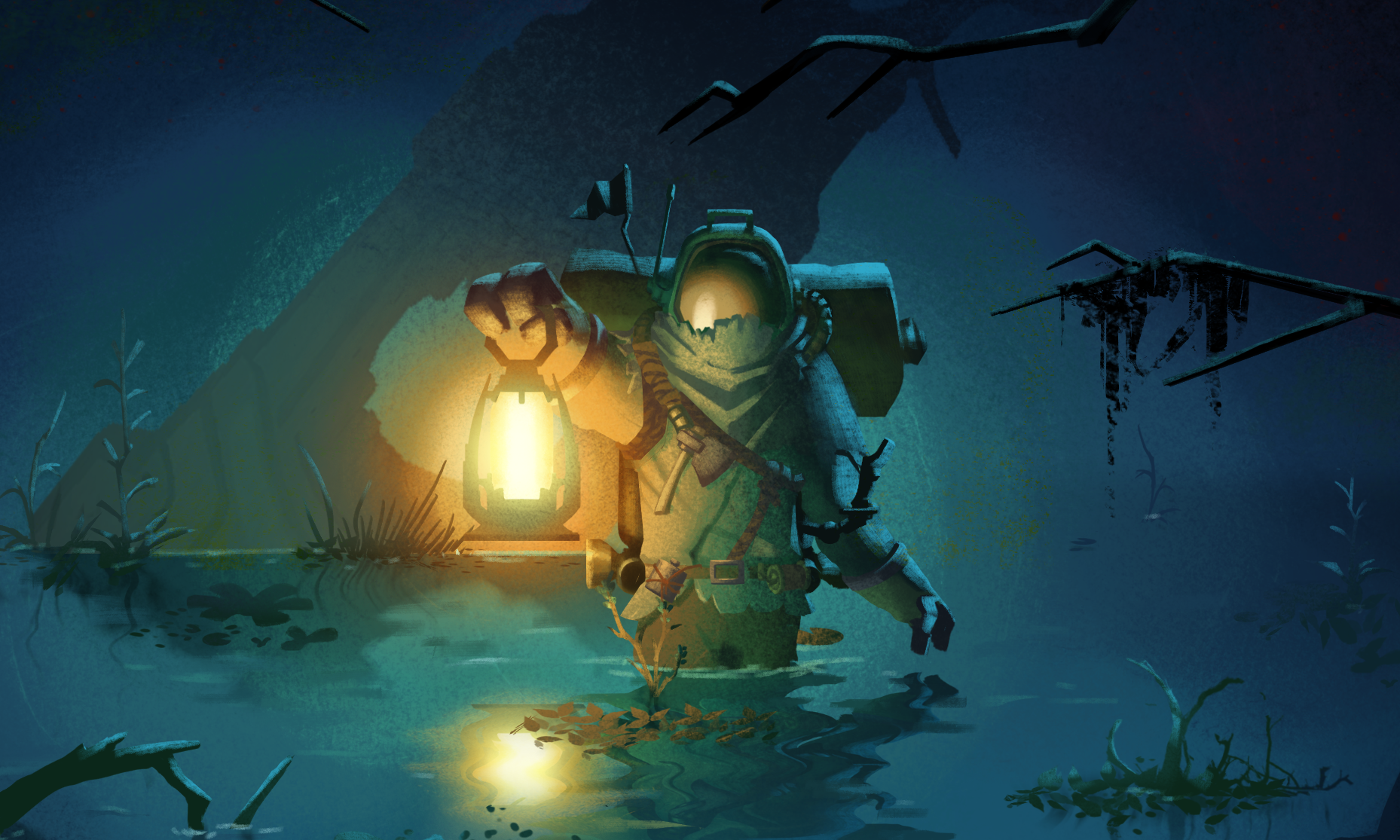 The key art for Outer Wilds Echoes of the DLC, featuring an alien astronaut carrying a glowing lamp in a moody swamp