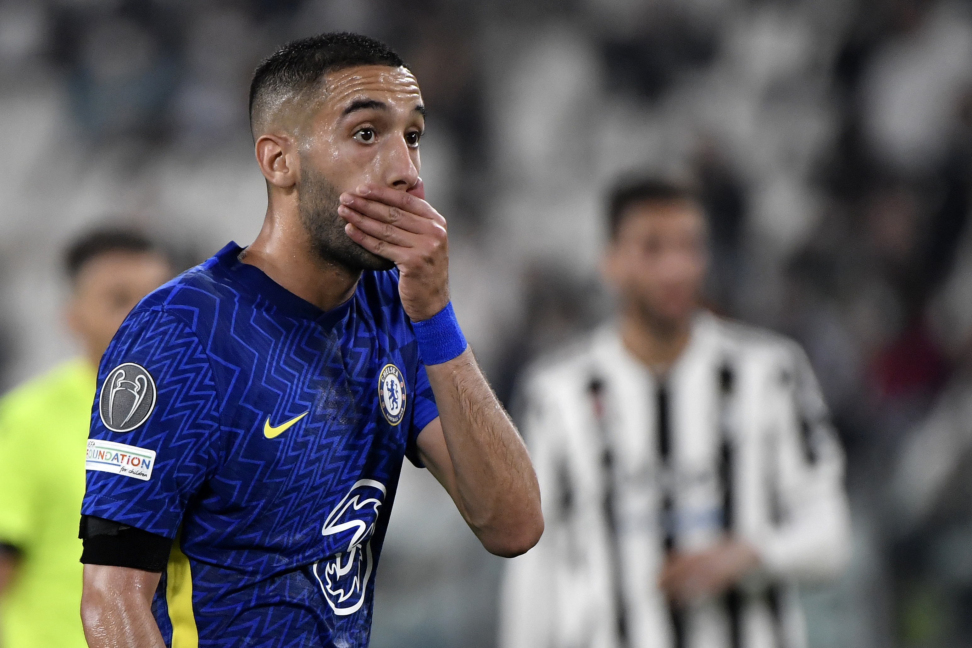 Hakim Ziyech of Chelsea reacts during the Uefa Champions...