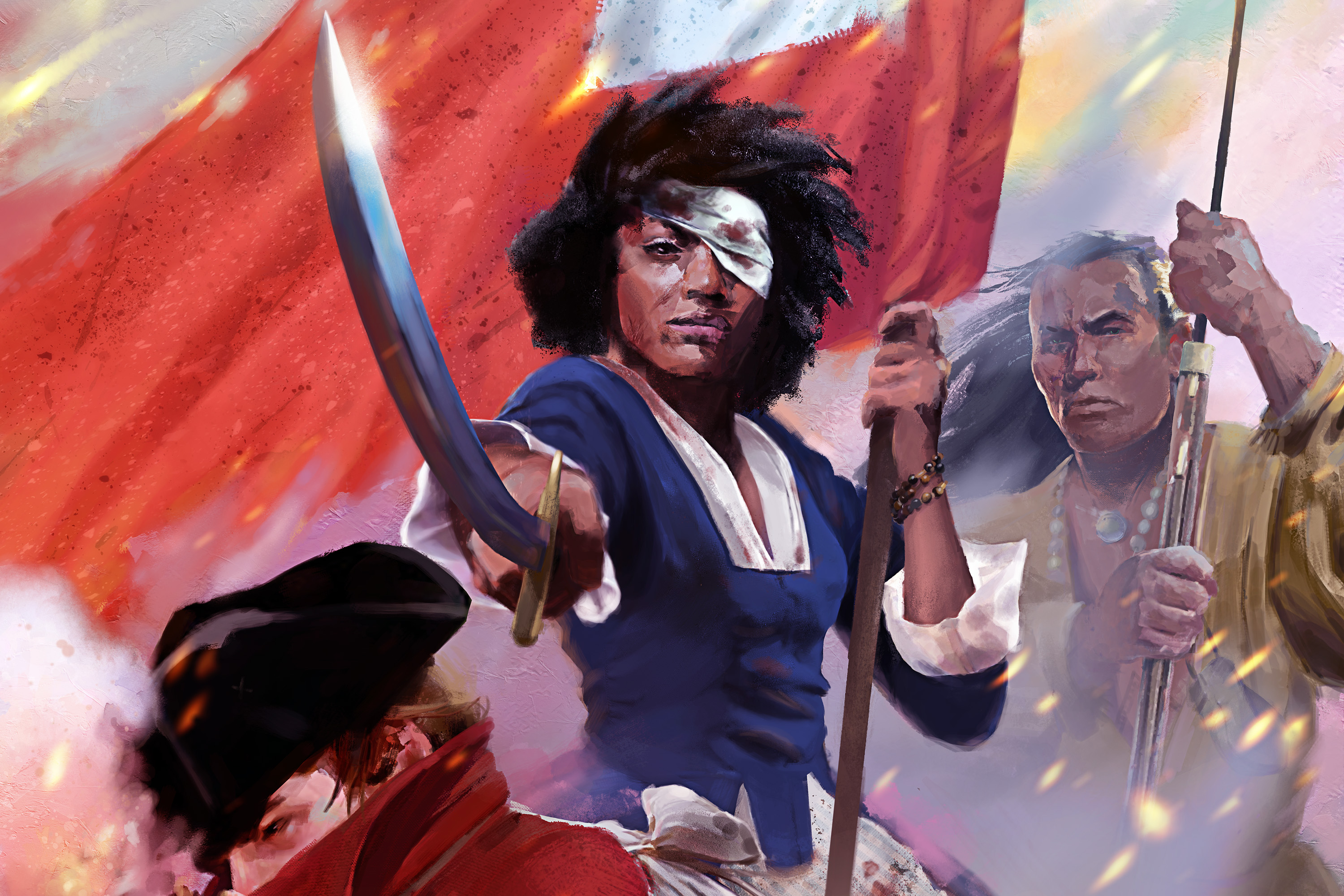 A Black woman raises a cavalry saber while holding the early flag of Virgnia. Her eye is bandaged. An Indigenous man standing behind her load a musket.