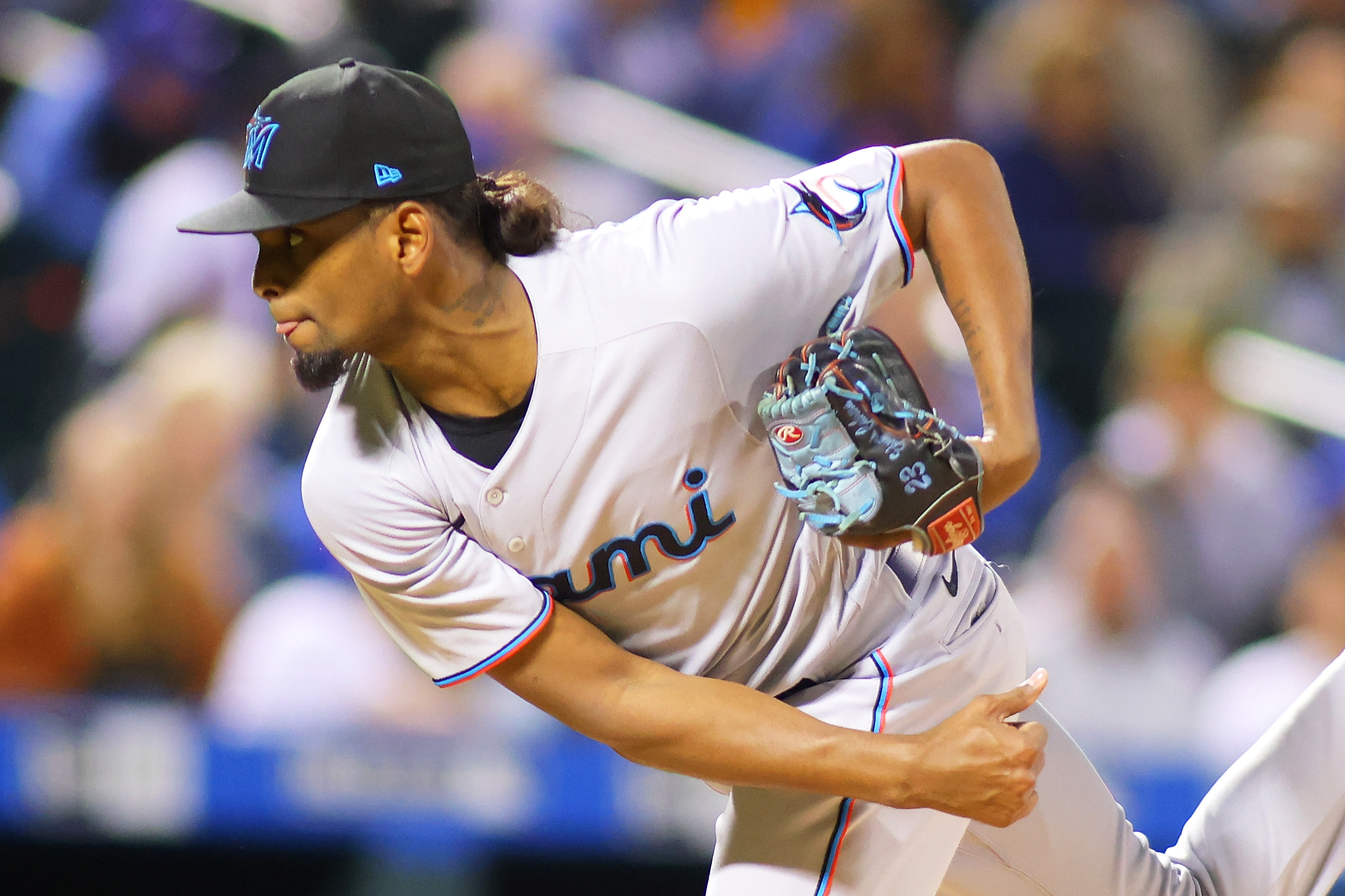 Edward Cabrera #79 of the Miami Marlins pitches in the first inning against the New York Mets at Citi Field