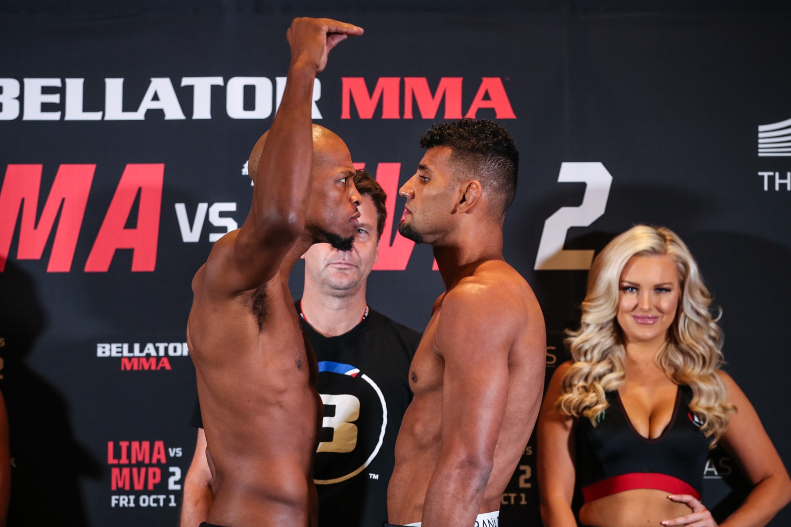 Michael Page and Douglas Lima at the Bellator 267 weigh-ins.