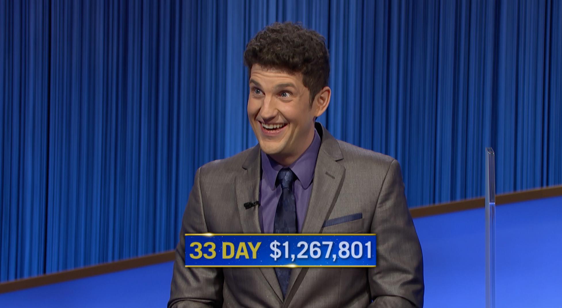 "Matt Amodio has now won 33 ""Jeopardy!"" games."