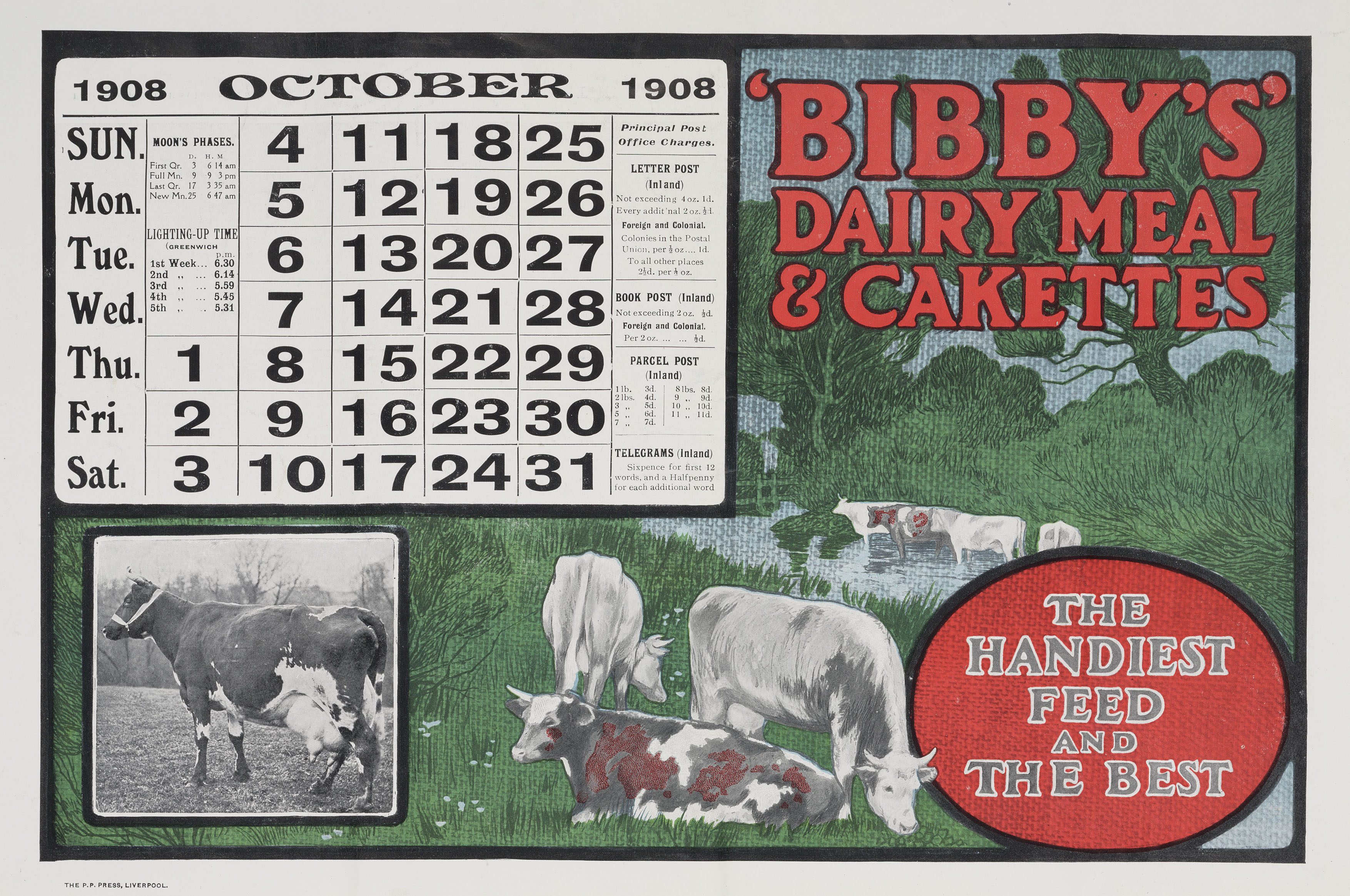 �Bibby�s Dairy Meal and Cakettes�, calendar, 1908.