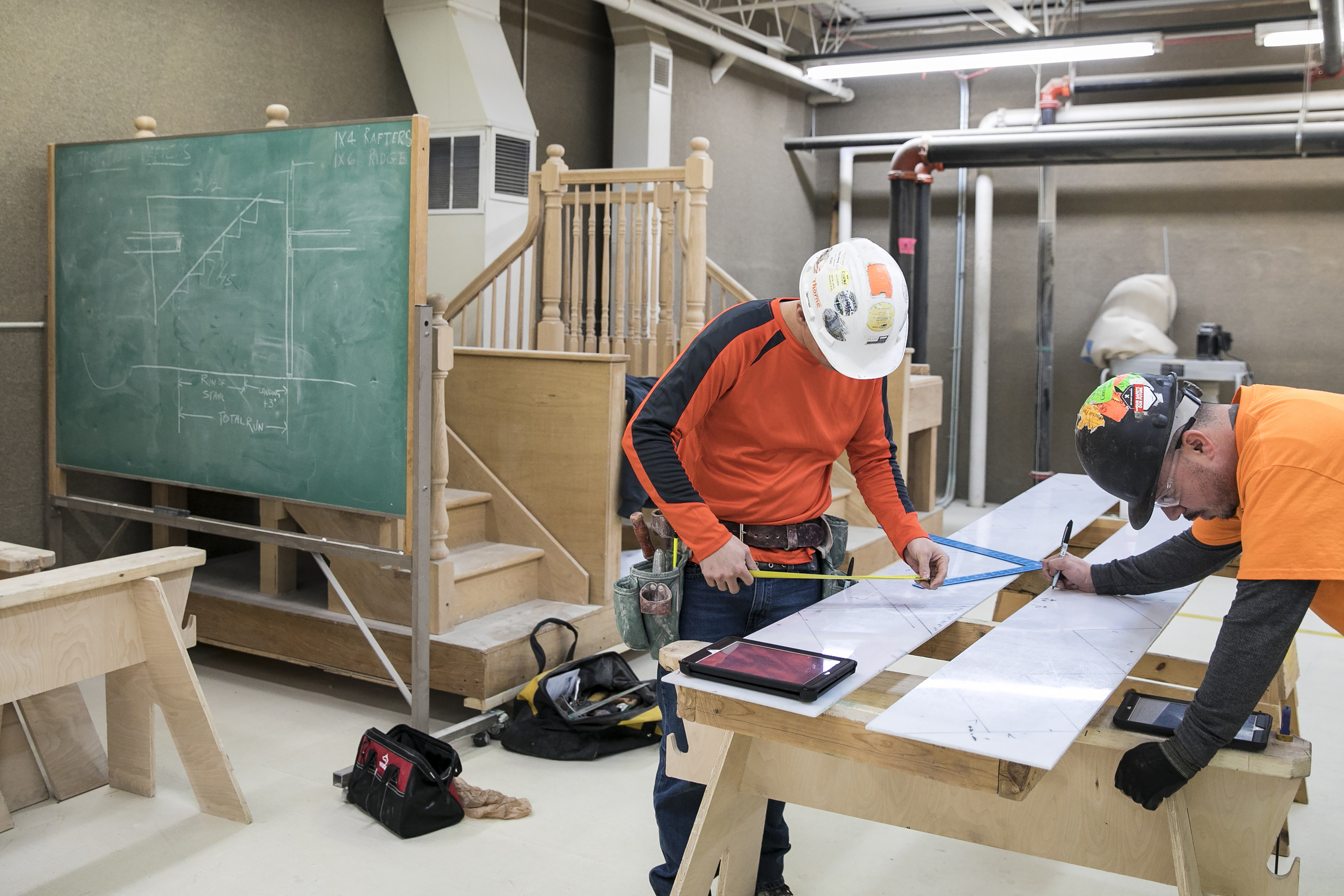 Students are pictured in 2018 at the Chicago Regional Council of Carpenters' Apprentice and Training Program in Elk Grove Village. The union now represents more than 50,000 workers.