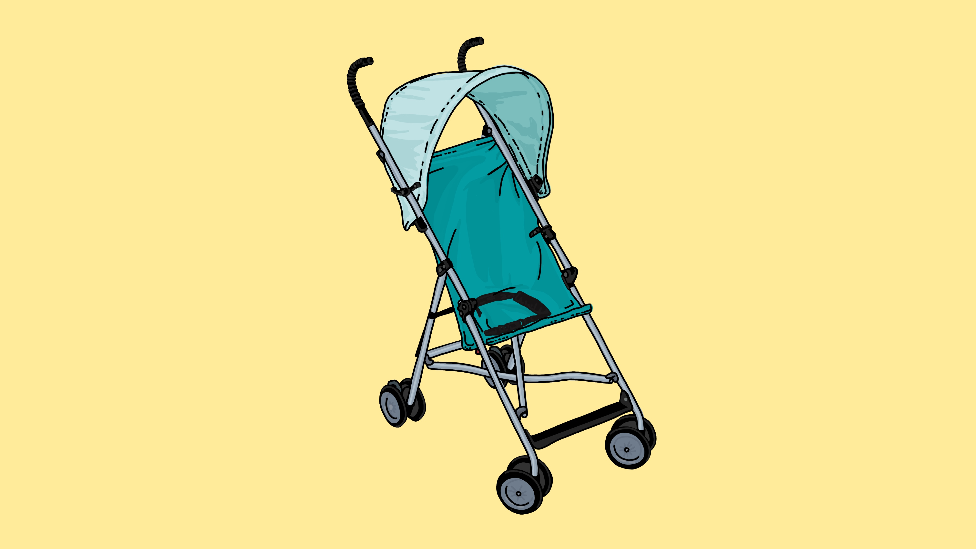 A teal stroller on a yellow background.