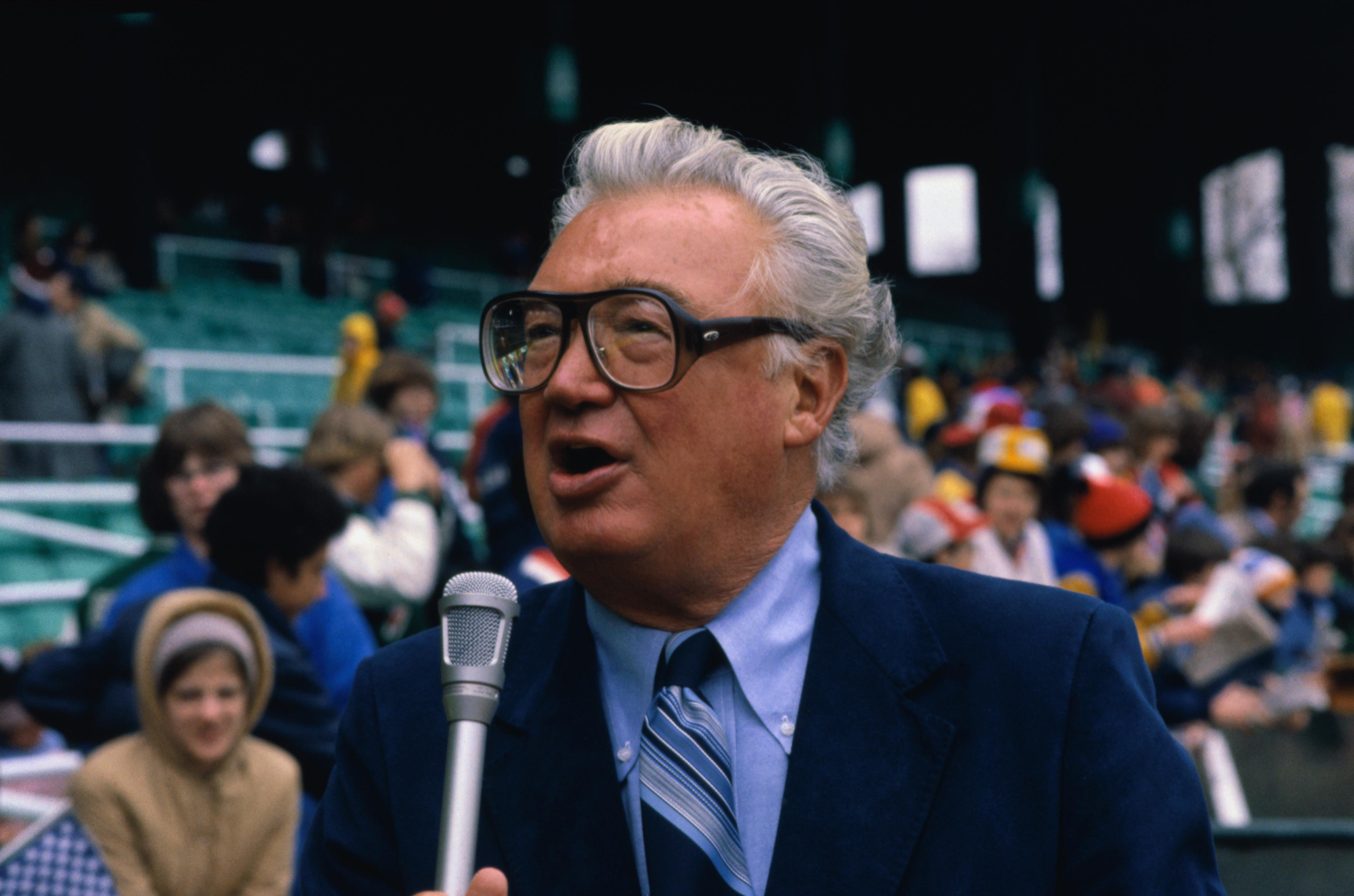 Sportscaster Harry Caray Announcing Baseball Game