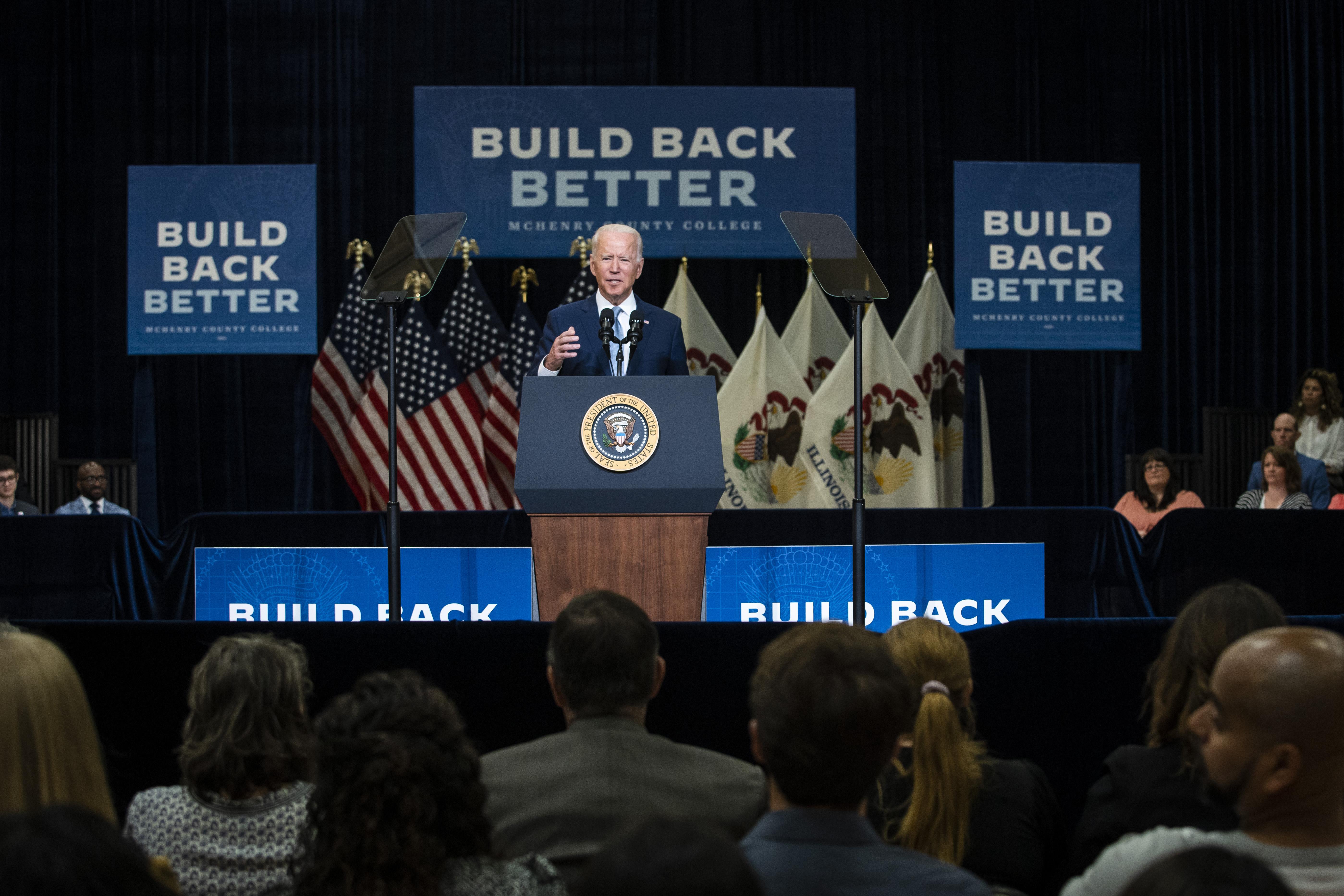 President Joe Biden speaks at McHenry County College in Crystal Lake in July.