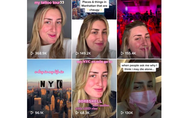 Six panels of screenshots from Audrey Peters's TikTok posts.