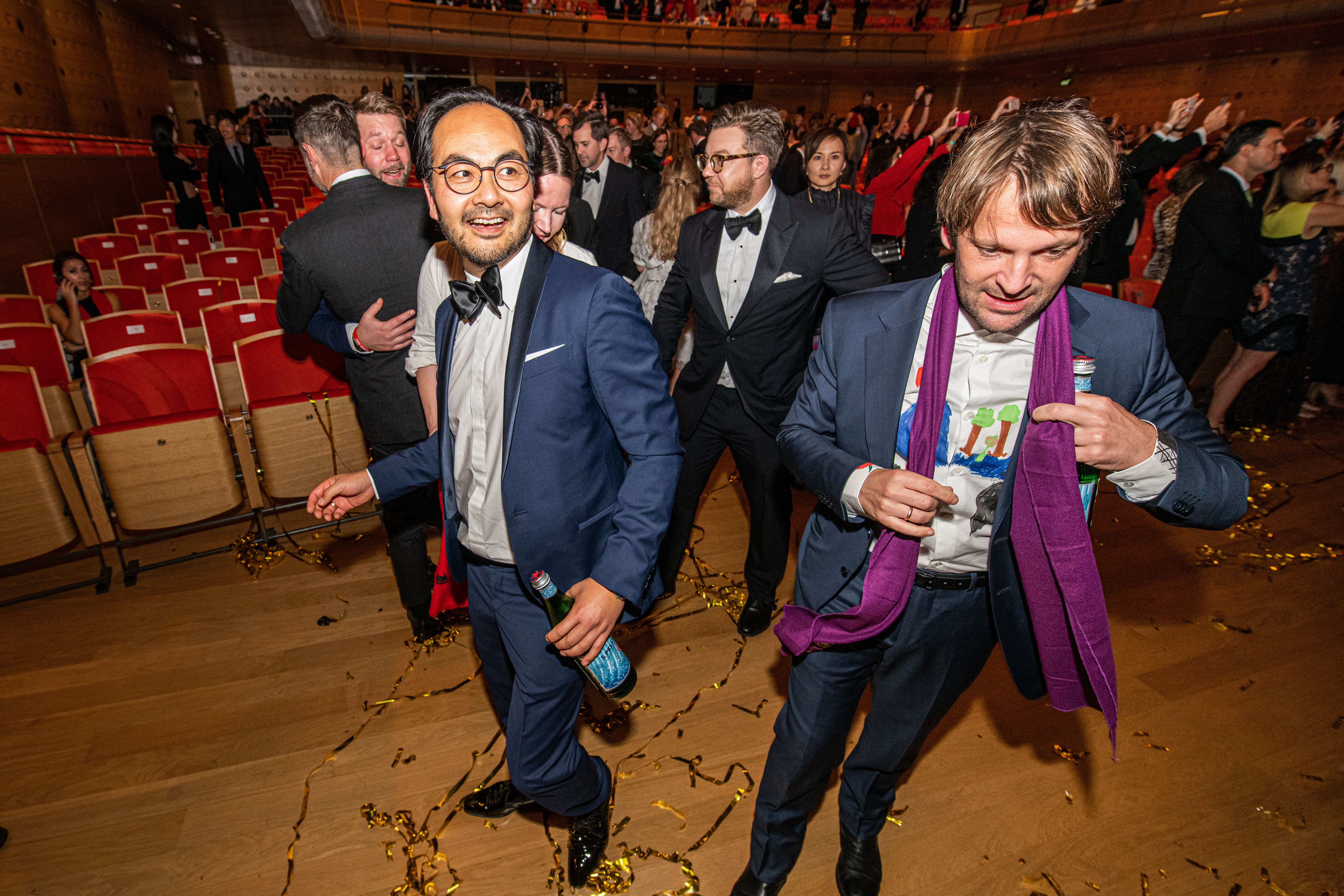 René Redzepi and the Noma crew celebrate at the World's 50 Best Awards ceremony.