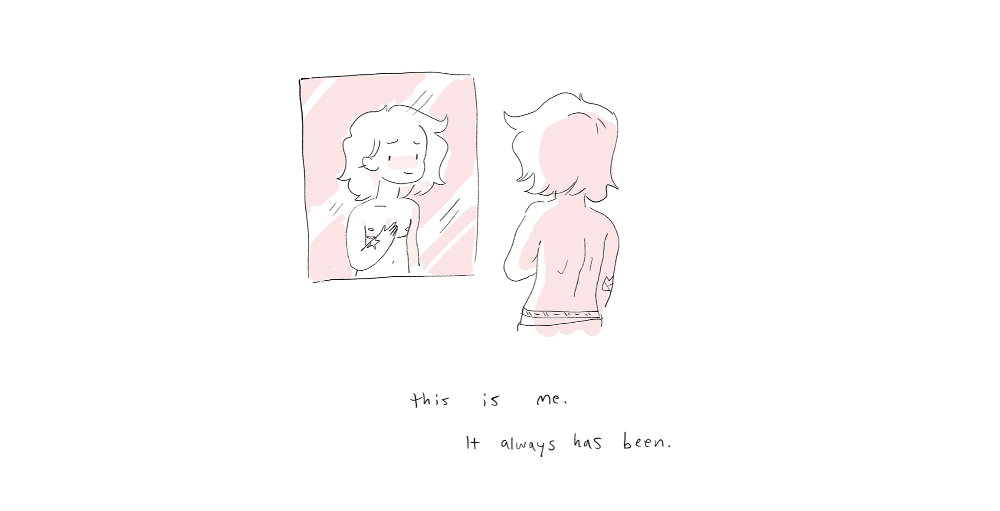 """A cartoon version of Noelle looks into the mirror after top surgery, with the caption """"This is me. It always has been."""" A panel from the free comic The Weight of Them."""