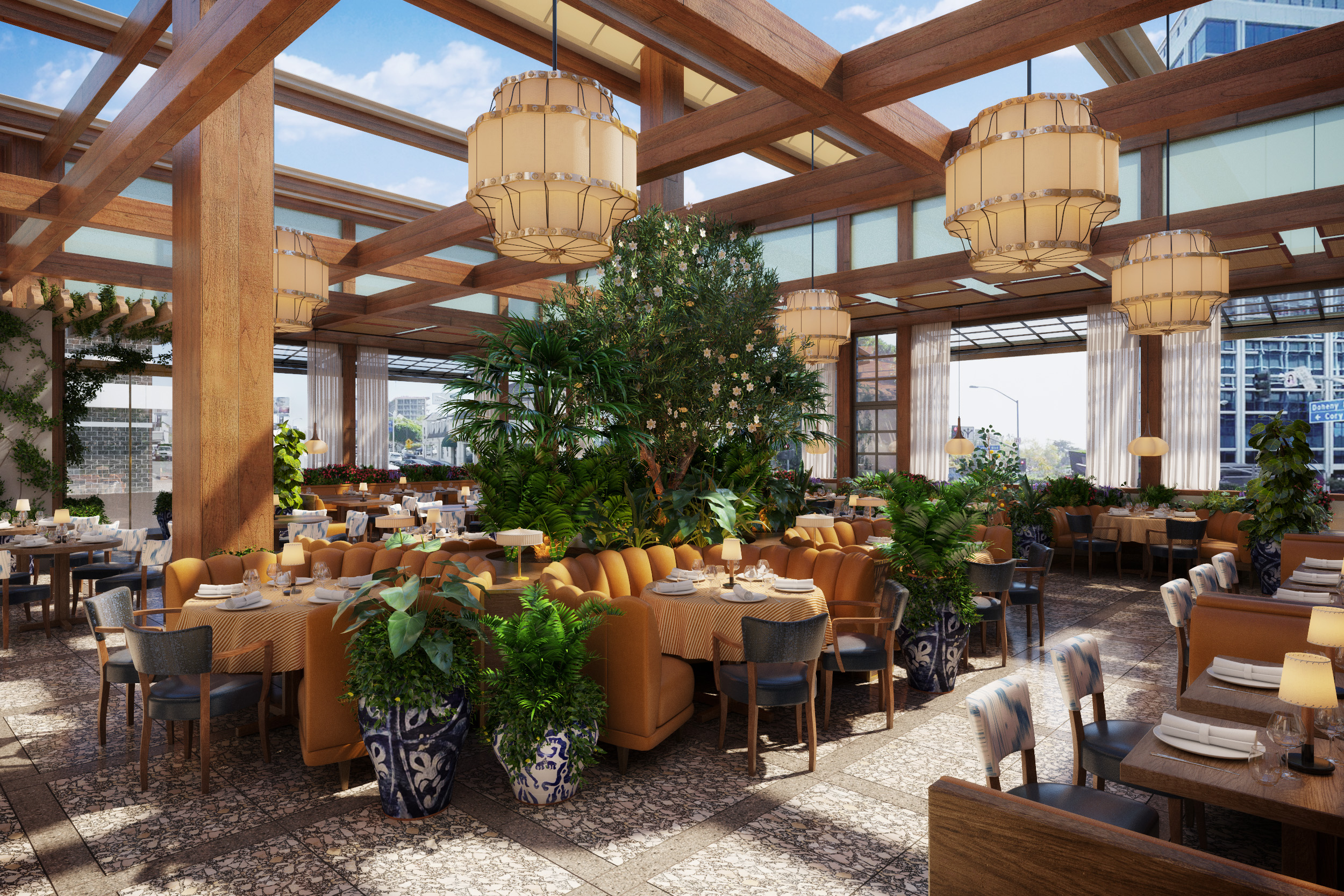 A rendering of an open-air dining room with plants and big booths and views across the street.