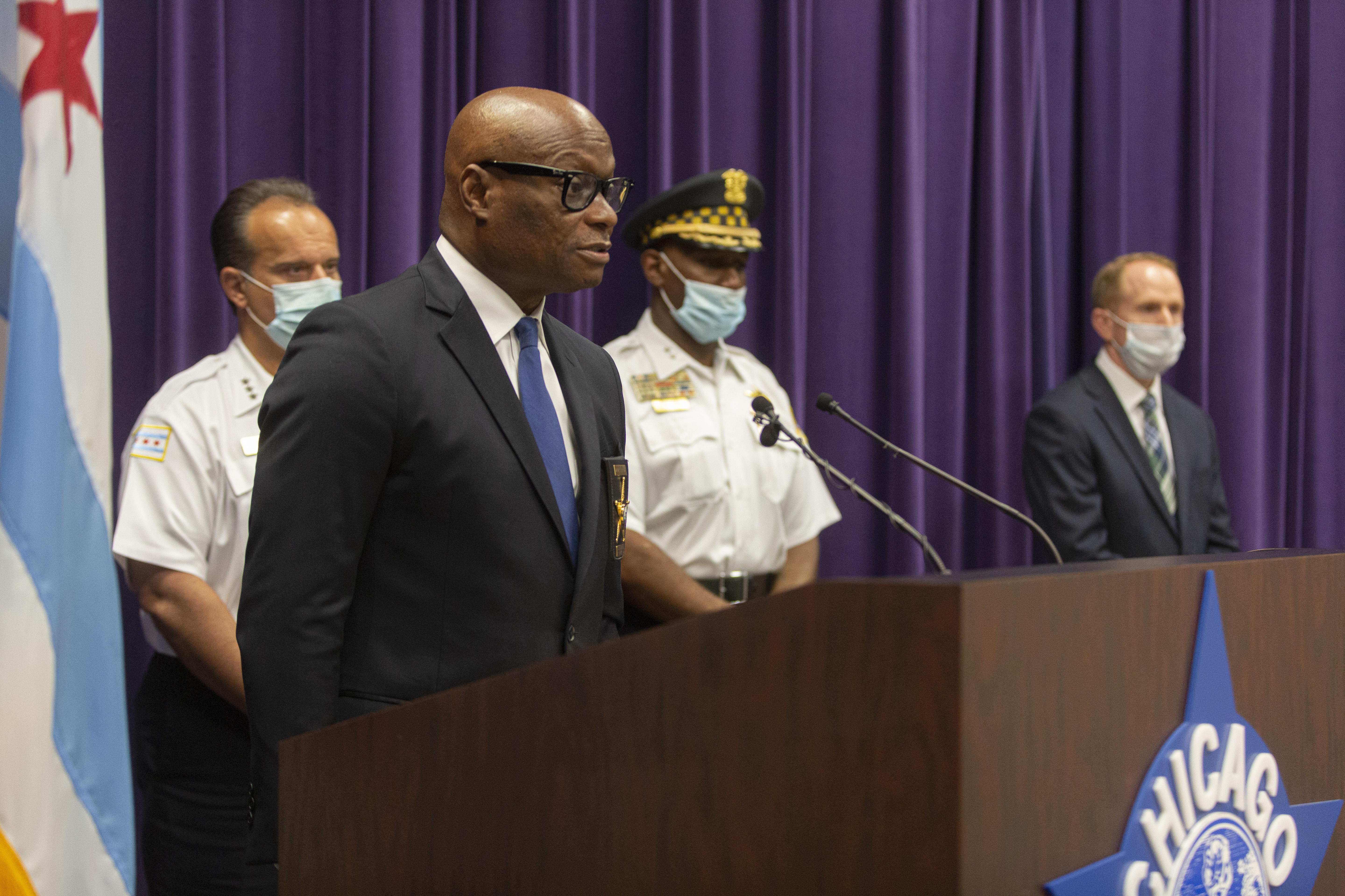 Chicago Police Supt. David Brown at a news conference in 2020.