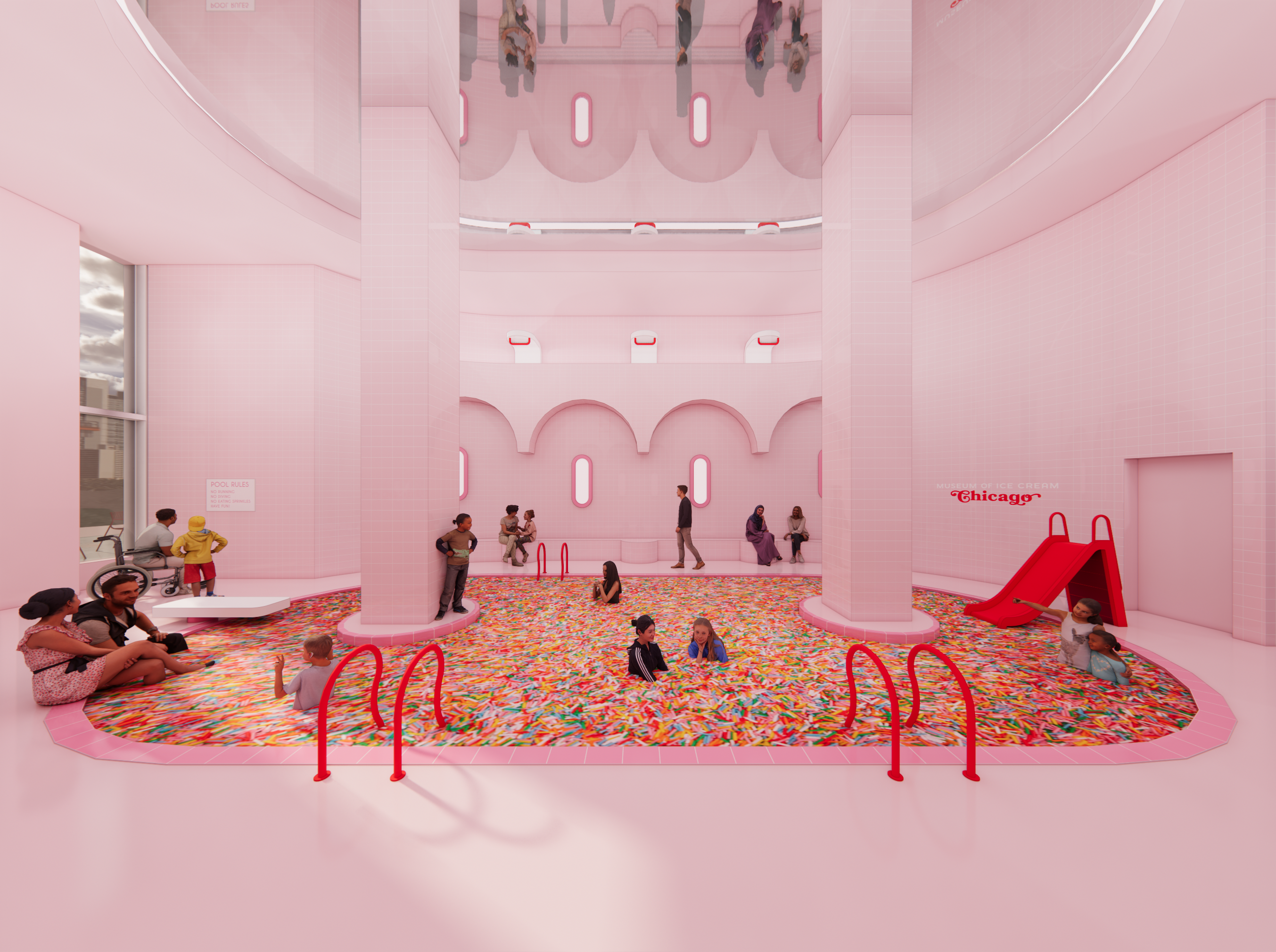 a swimming pool filled with multicolored sprinkles; there is a slide, and people lounge on the side. it is in a pink room.