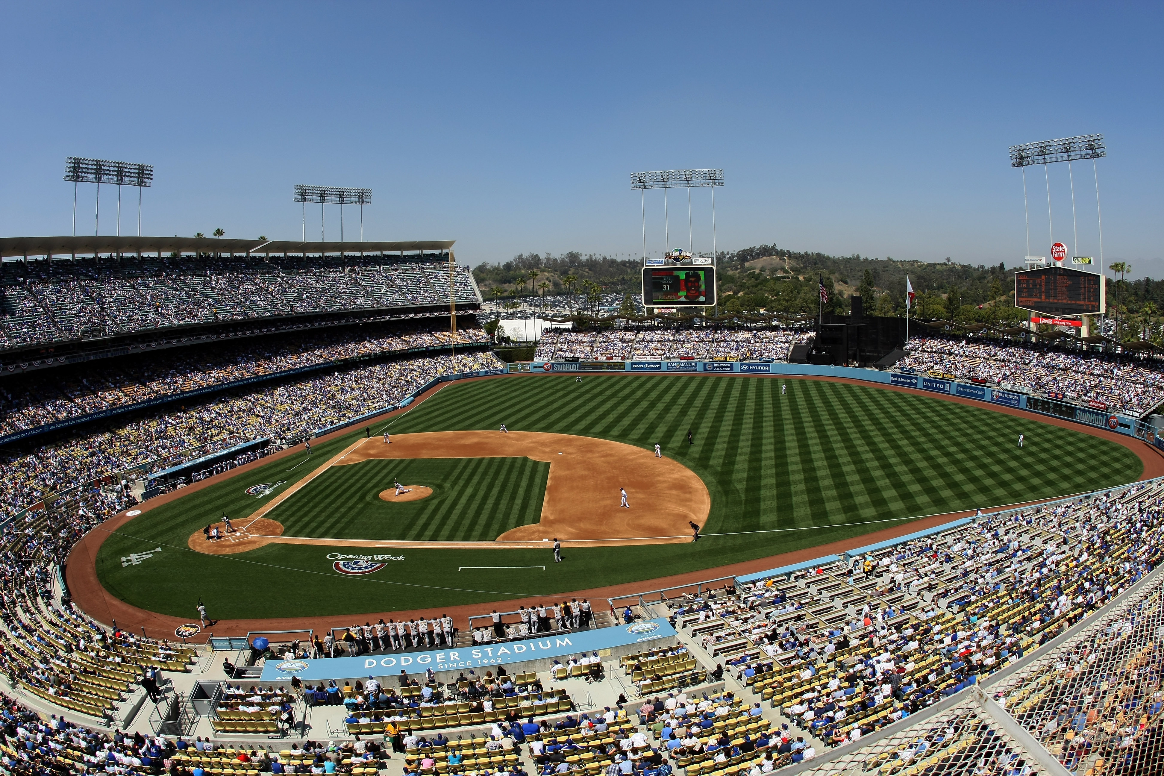 General View of the game between the Pittsburgh Pirates and the Los Angeles Dodgers during opening day at Dodger Stadium