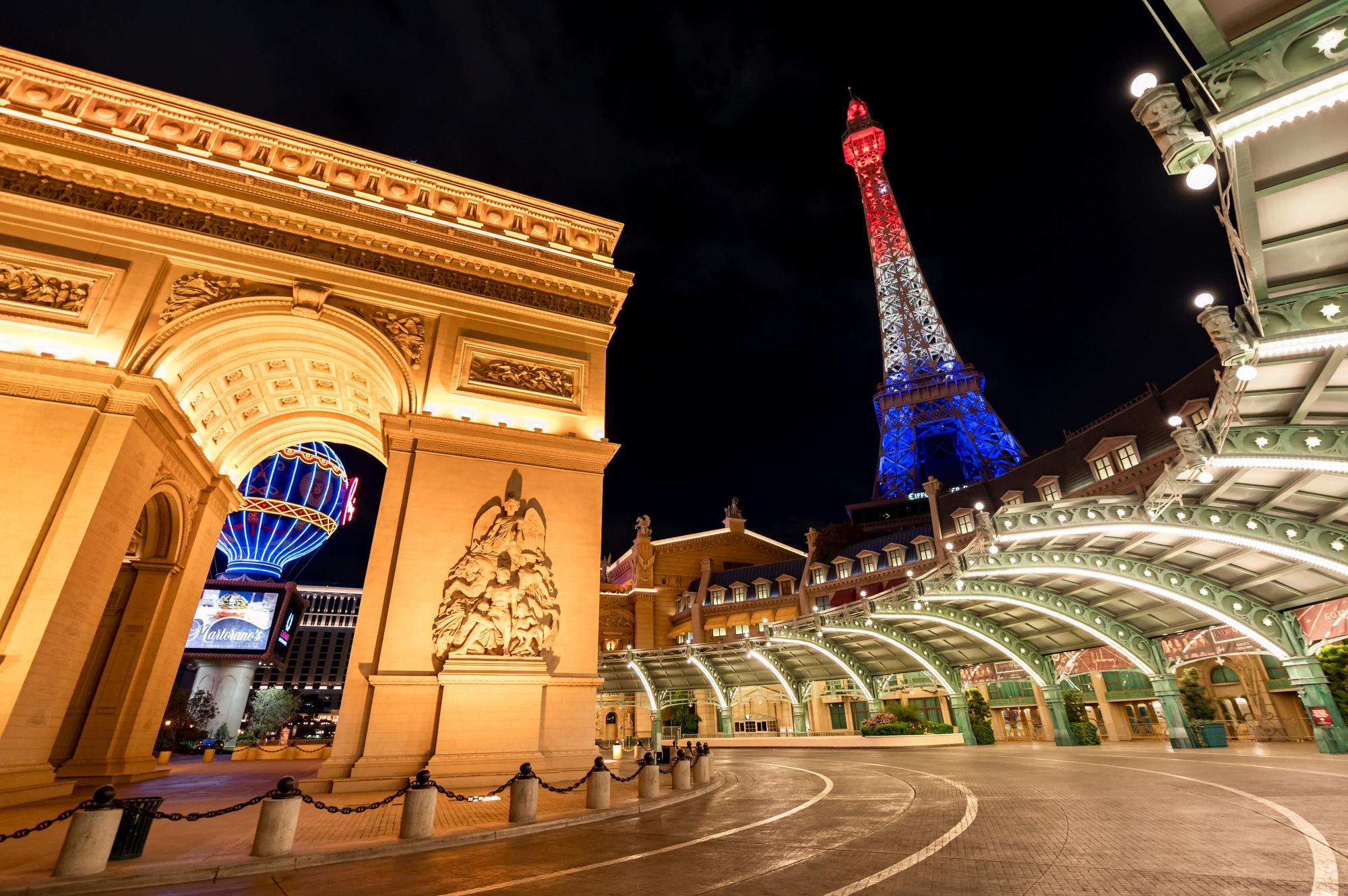 A night photo of Paris Las Vegas