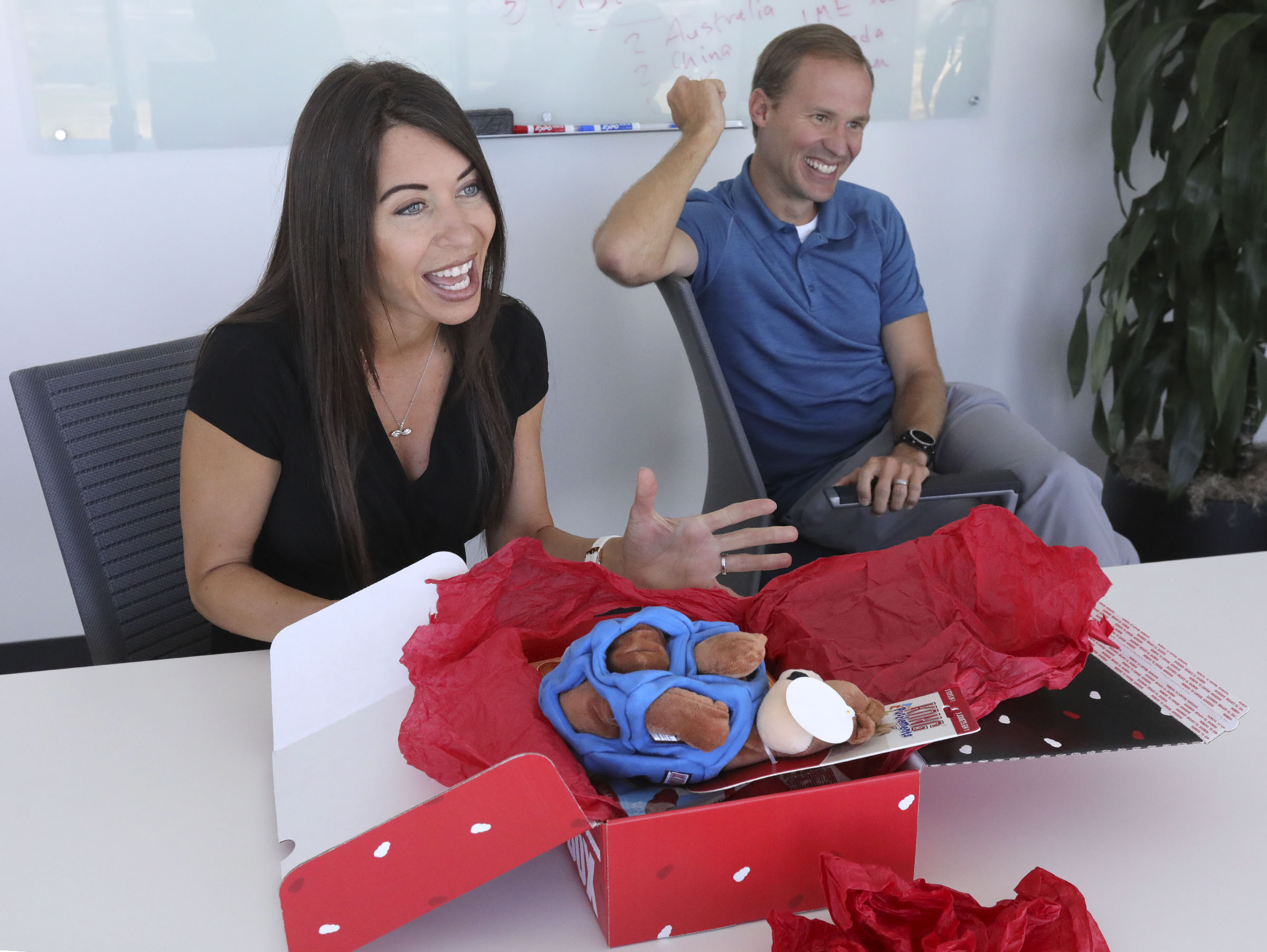 Melanie Alder and David Wright, co-founders of Pattern, talk about the Kong Box, a gift box of dog toys, at the Pattern office in Lehi on July 3, 2019.