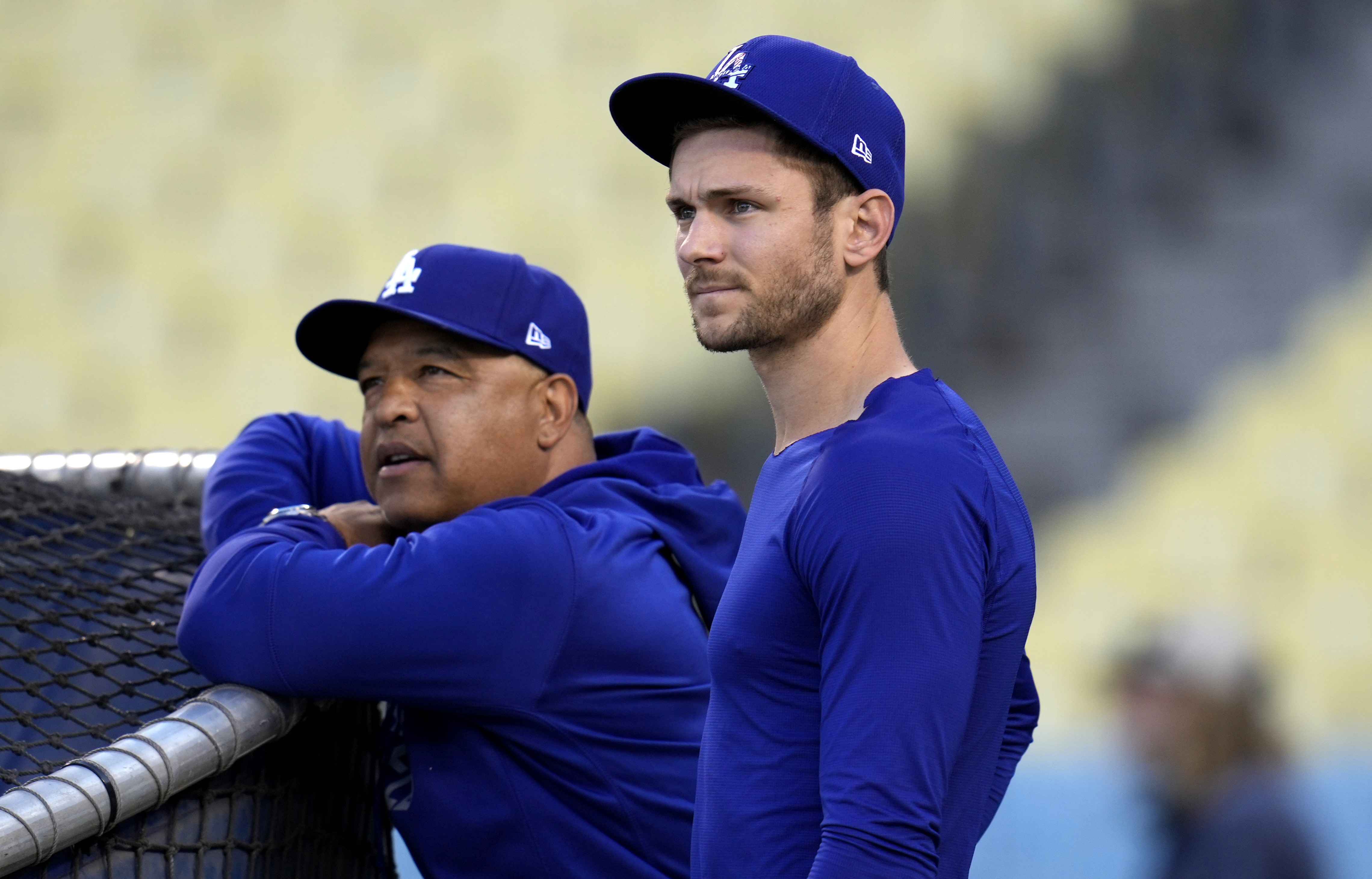 Los Angeles Dodgers and the St. Louis Cardinals during a workout day before the National League Wildcard game at Dodger Stadium in Los Angeles.