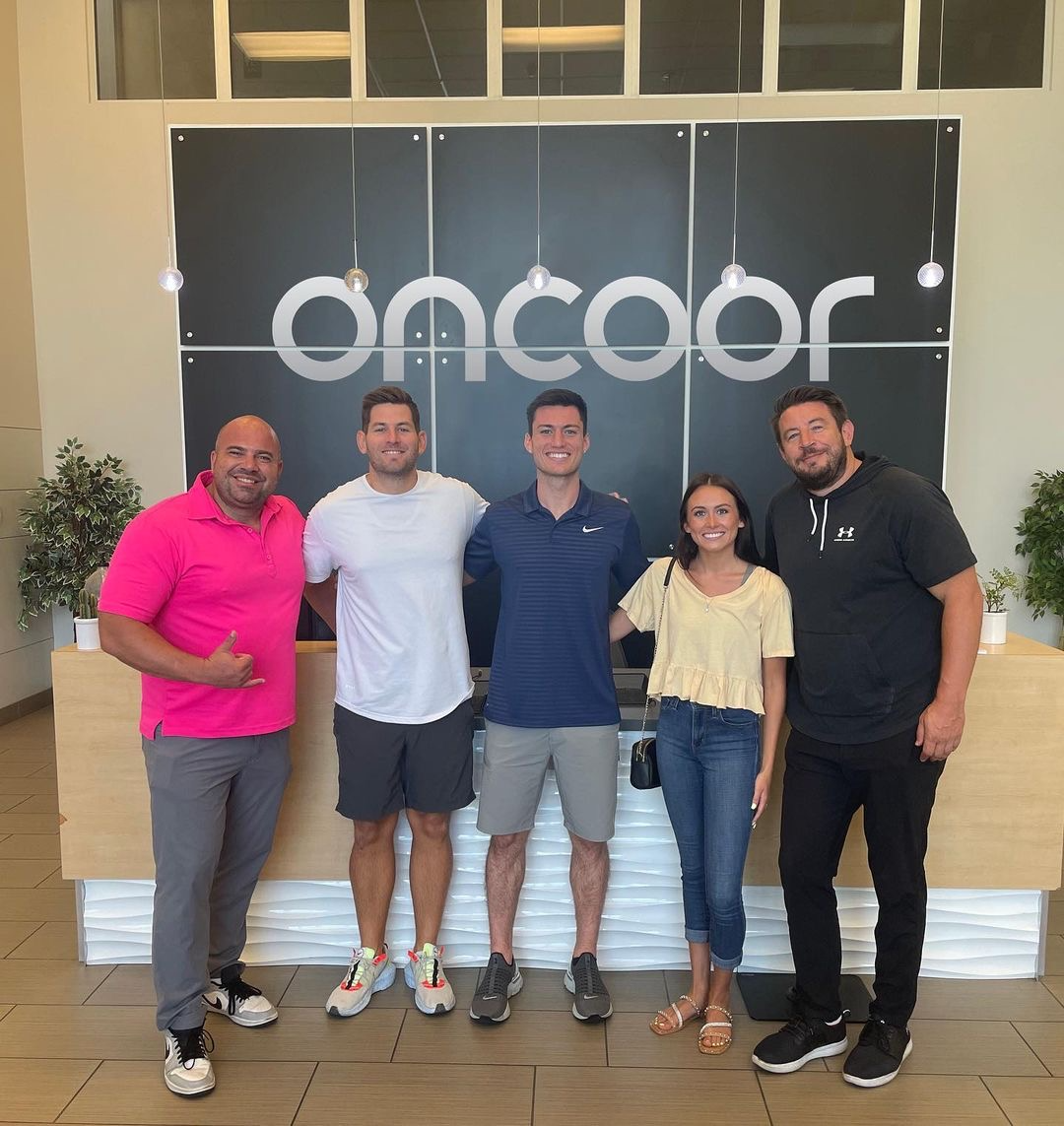 l to r: Mercury Group president Kevin Trost, Oncoor founder Brian Fagan, Alex Barcello, Zoe Simpson and Jesse Christiansen.