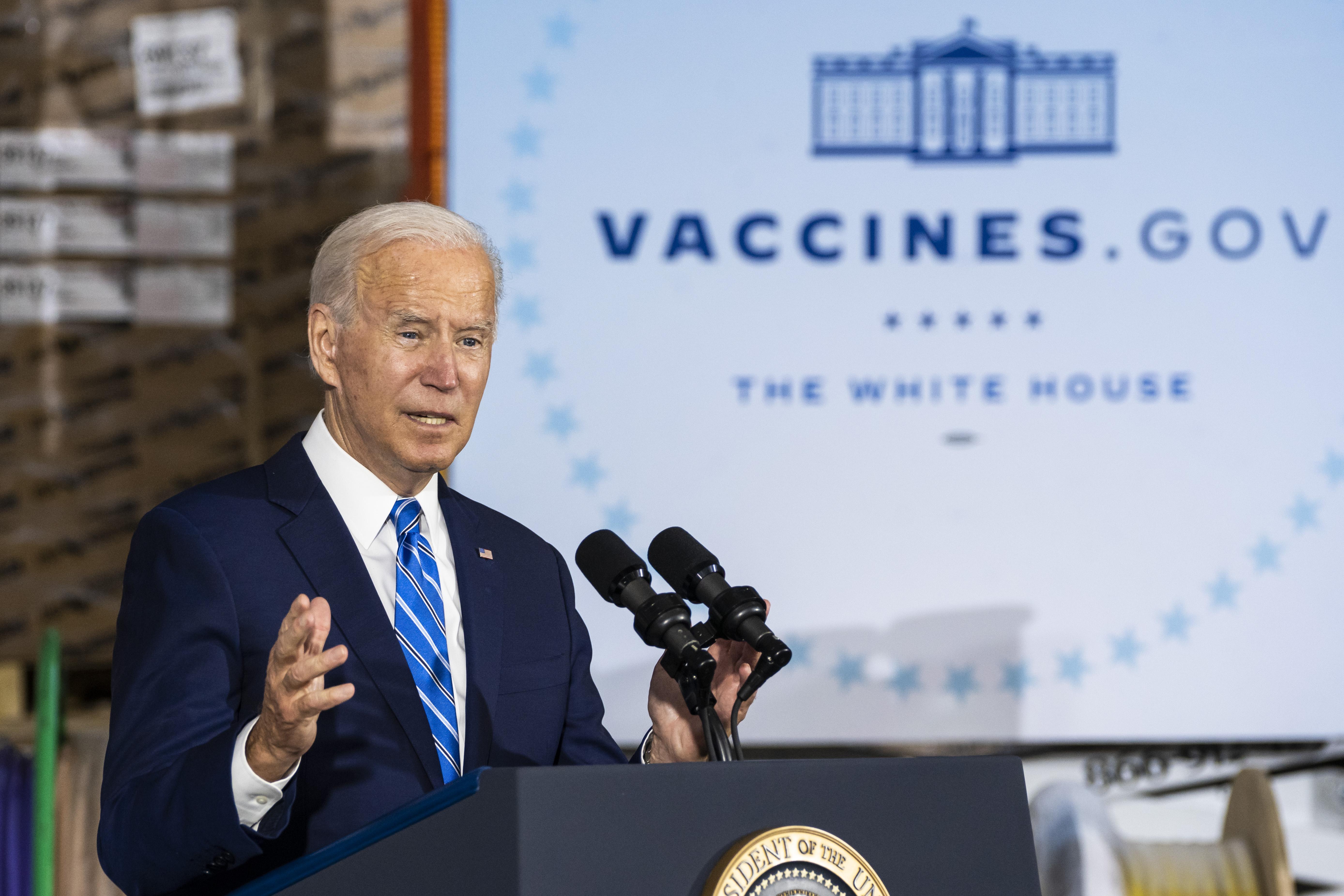 President Joe Biden speaks in Elk Grove Village on Thursday.