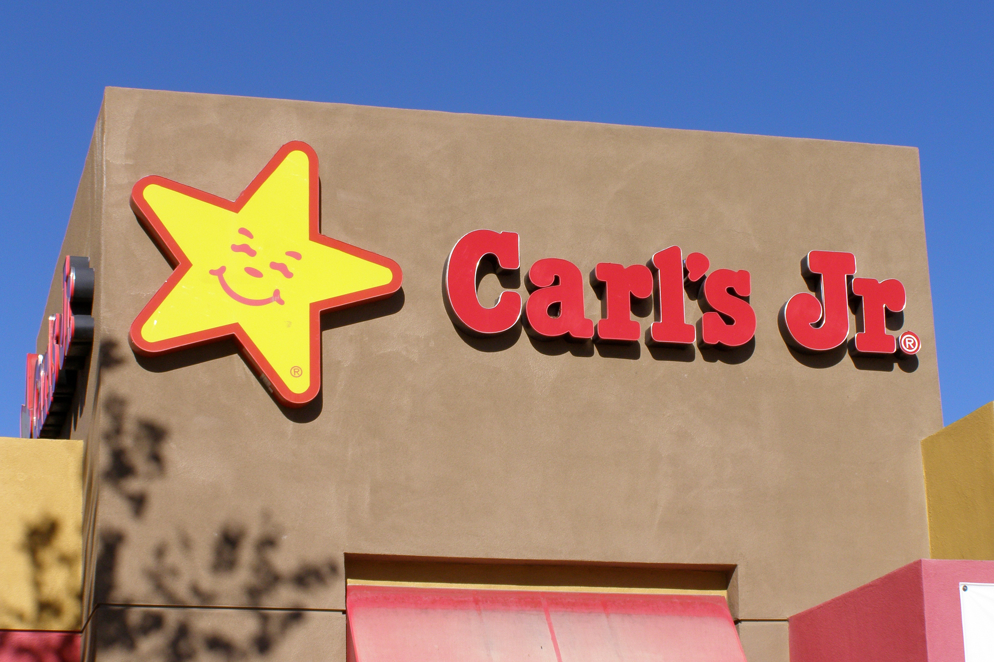 A Carl's Jr restaurant in Calfornia, with its yellow star logo