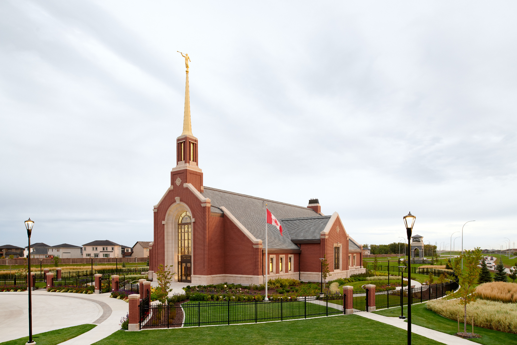 An exterior view of the Winnipeg Manitoba Temple in the morning.