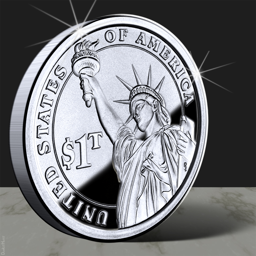 A visualization of what a $1 trillion coin could look like.