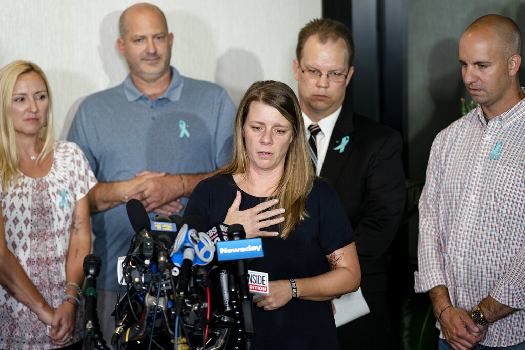Nichole Schmidt, mother of Gabby Petito, speaks during a news conference on Tuesday, Sept. 28, 2021, in Bohemia, N.Y.
