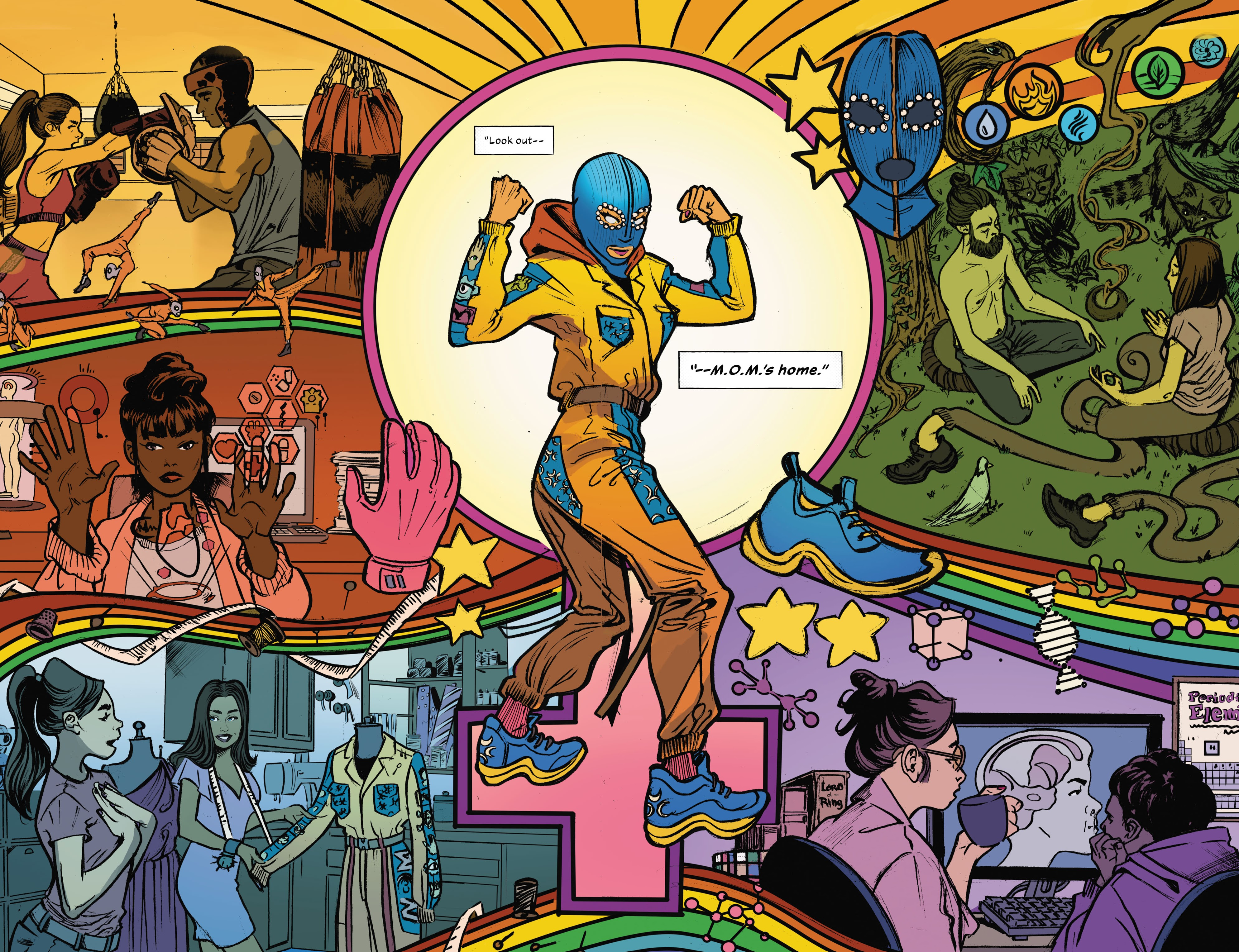 A comics panel showing Maya, star of comic book M.O.M: Mother of Madness