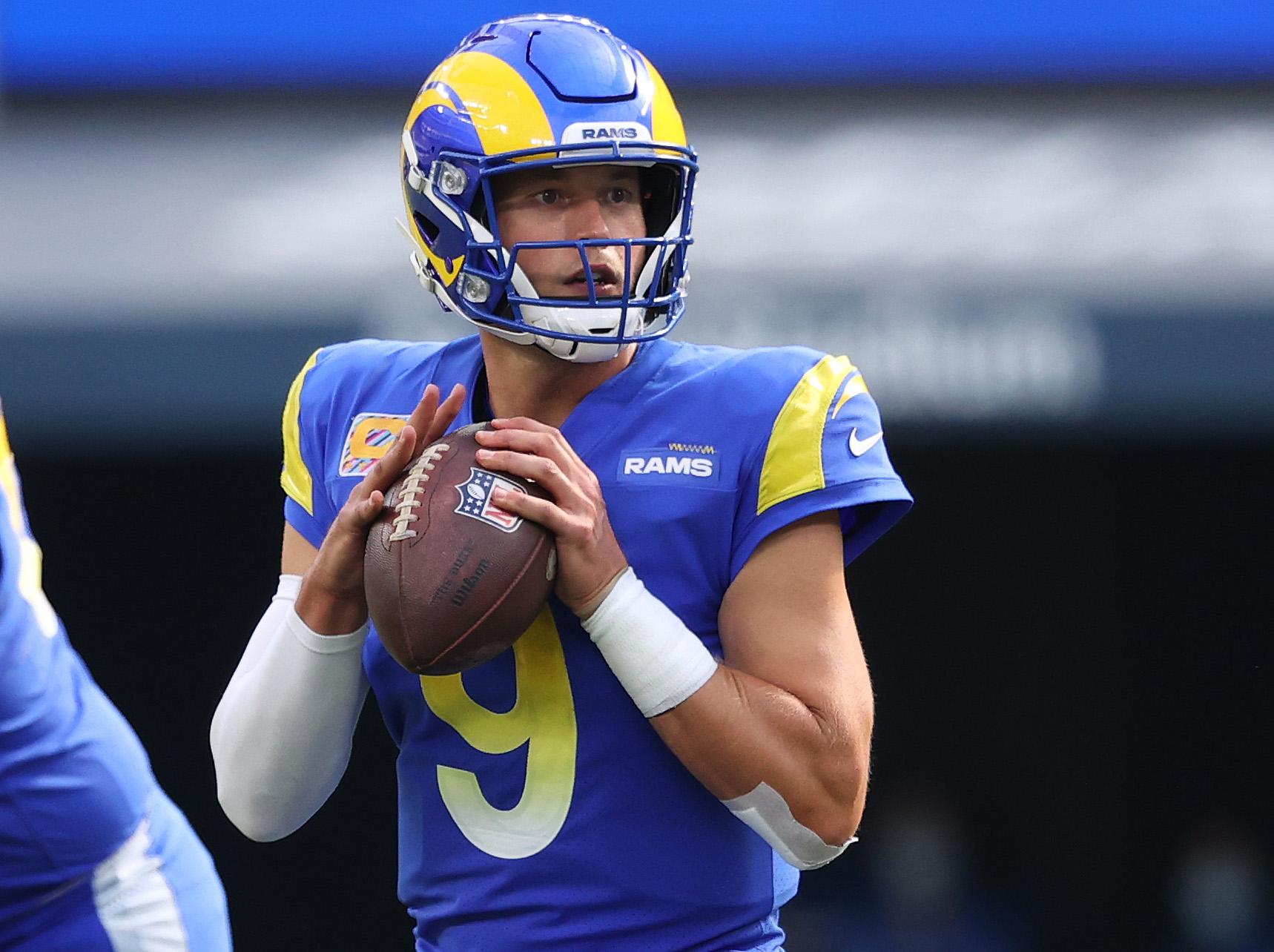 Matthew Stafford #9 of the Los Angeles Rams at SoFi Stadium on October 03, 2021 in Inglewood, California.