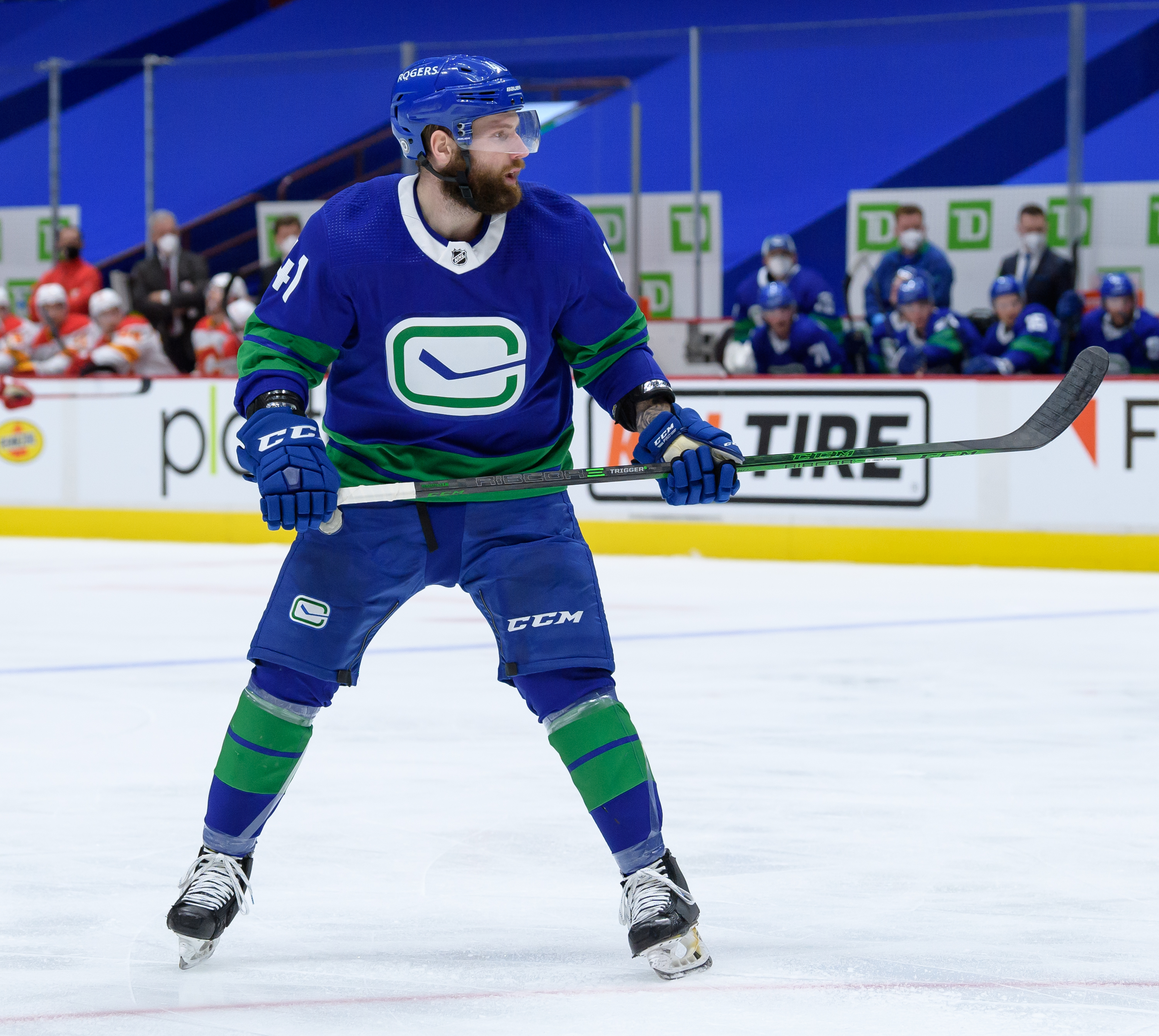 Vancouver Canucks left wing Jonah Gadjovich (41) skates up ice during their NHL game against the Calgary Flames at Rogers Arena on May 16, 2021 in Vancouver, British Columbia, Canada.