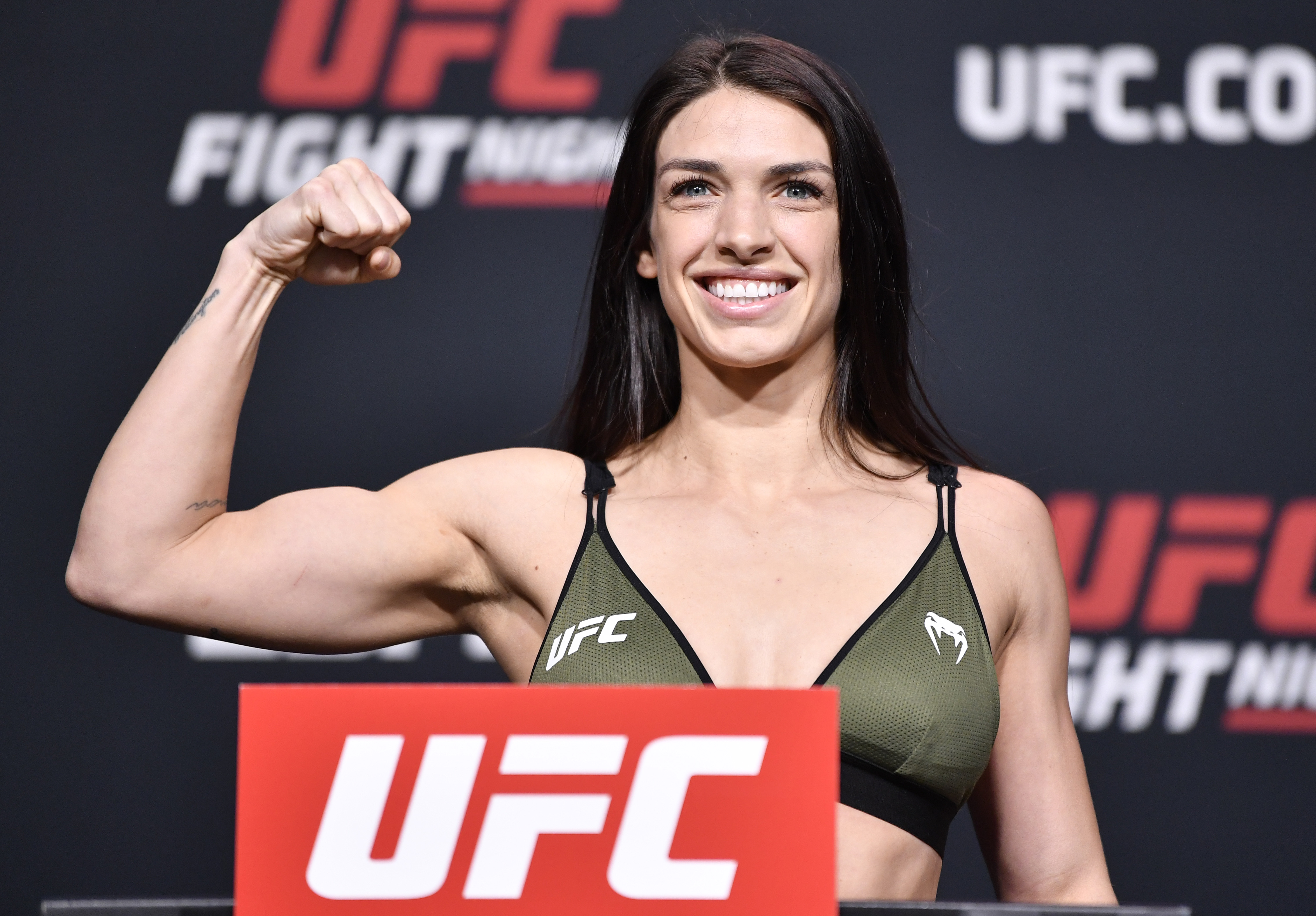 Mackenzie Dern at the weigh-ins for UFC Fight Night: Vettori vs. Holland.
