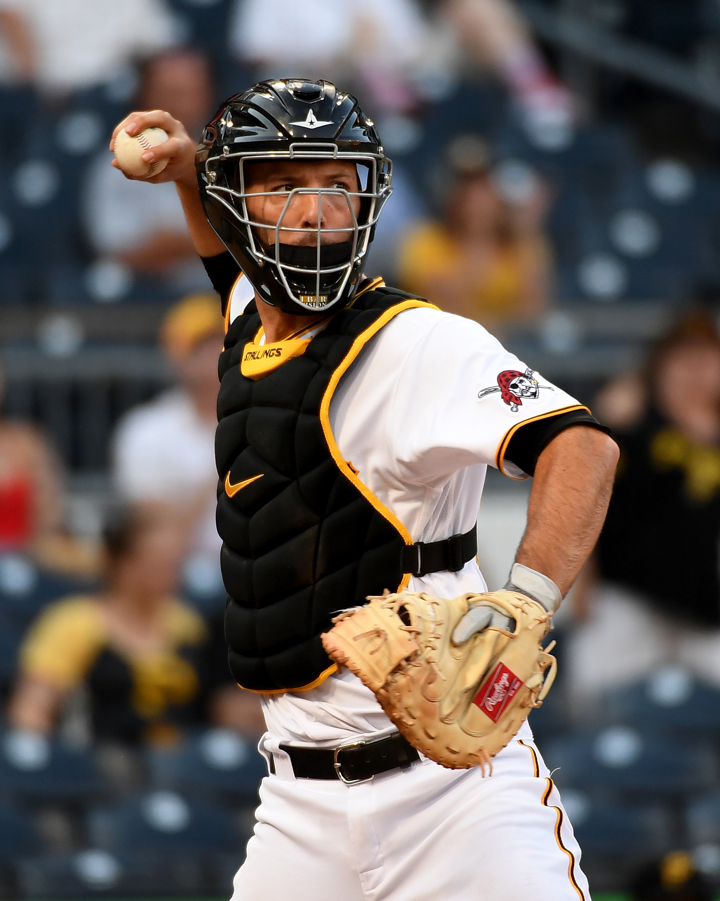 Jacob Stallings #58 of the Pittsburgh Pirates in action during the game against the Miami Marlins at PNC Park