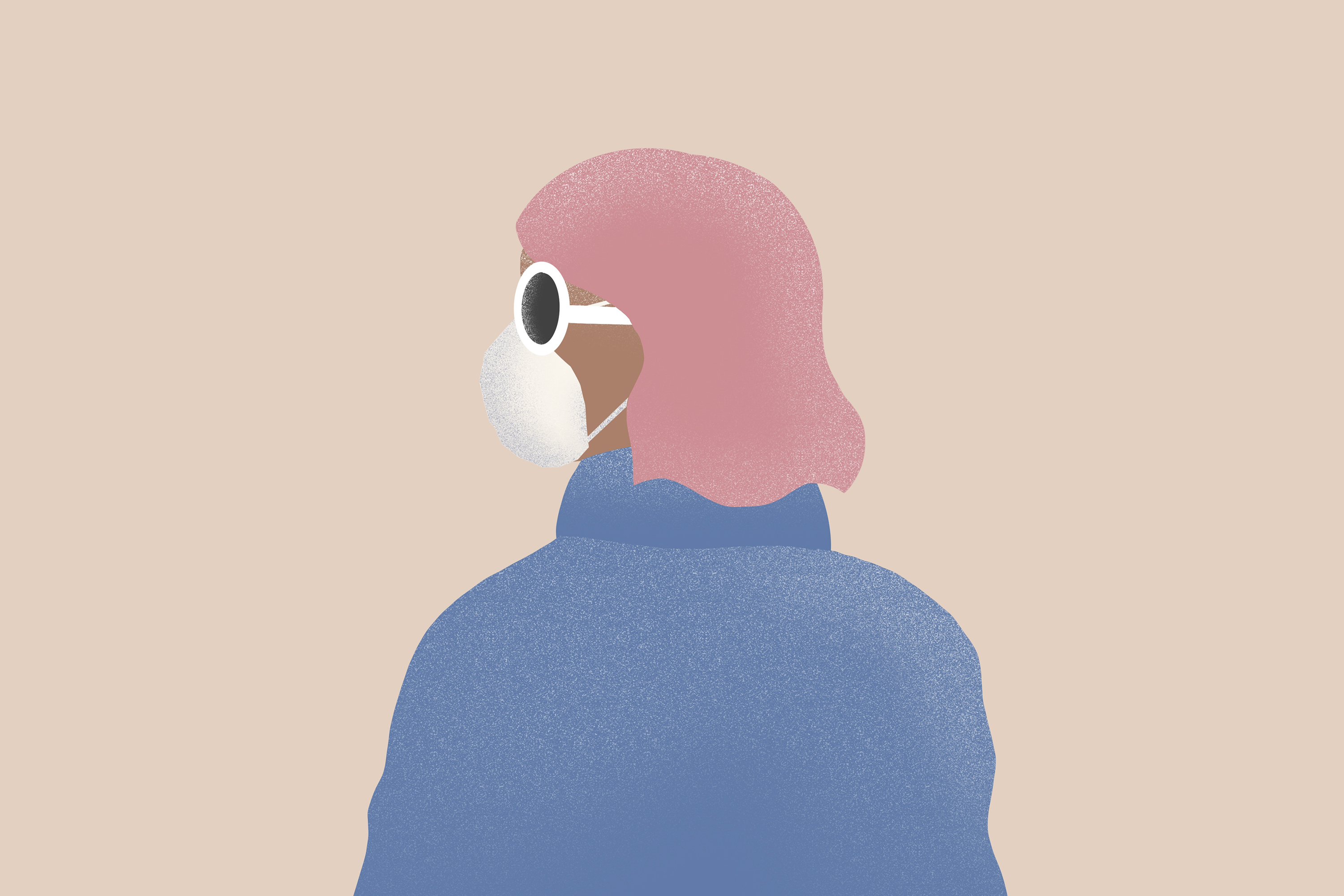 An illustration of a woman wearing a face mask