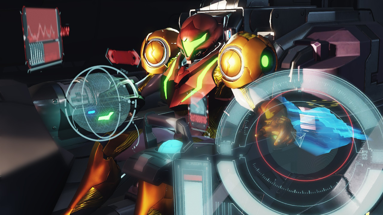 Samus Aran in the cockpit of her spaceship in Metroid Dread