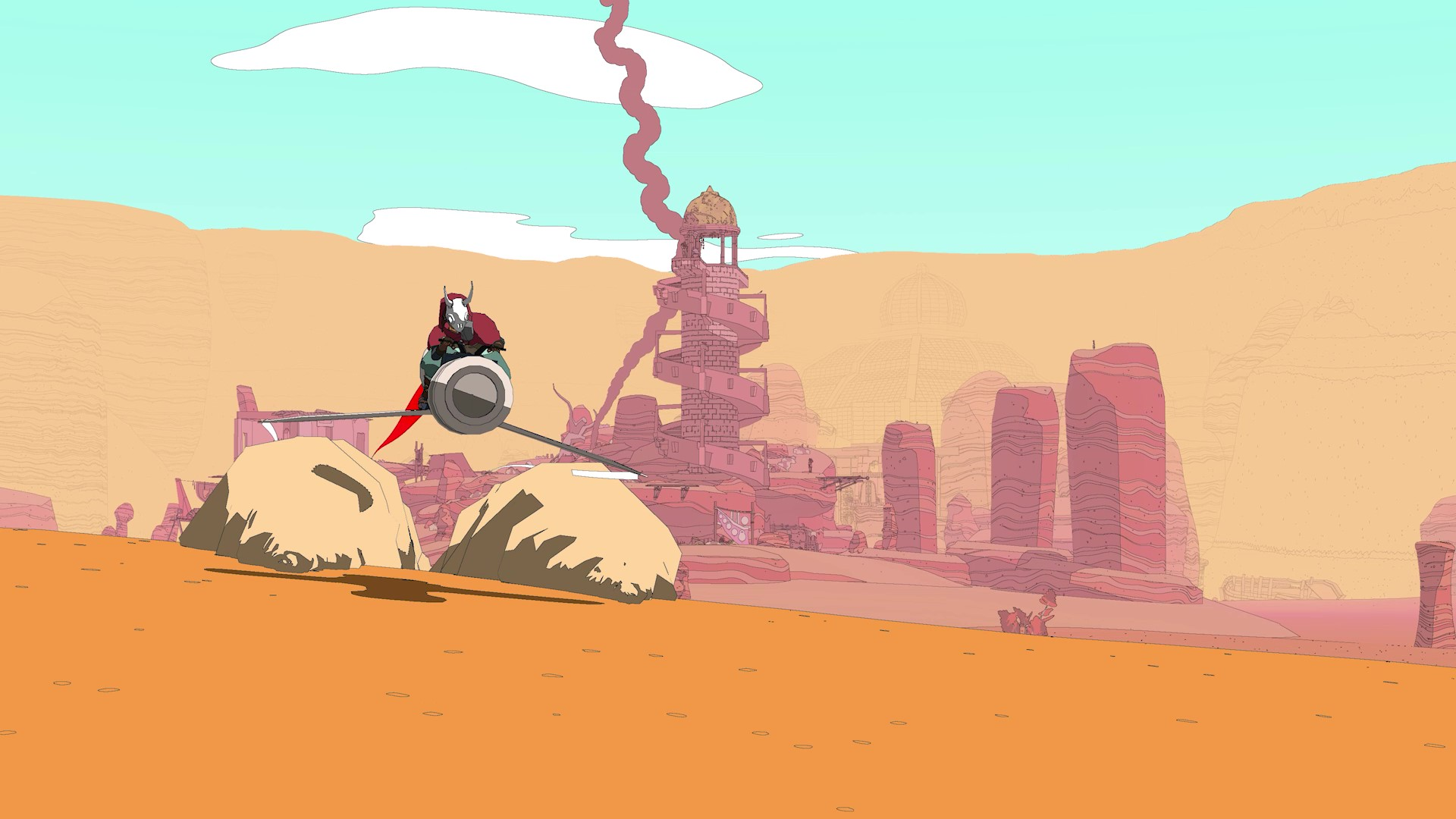 sable, the cloaked and masked character from sable, rides her hover bike in a desert