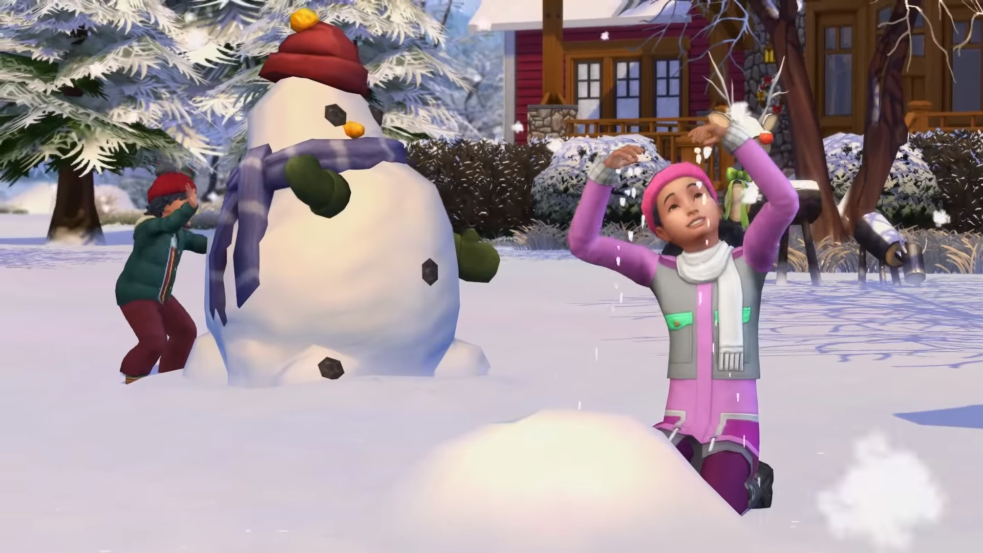 Sims playing in the snow with a weird snowman in the background