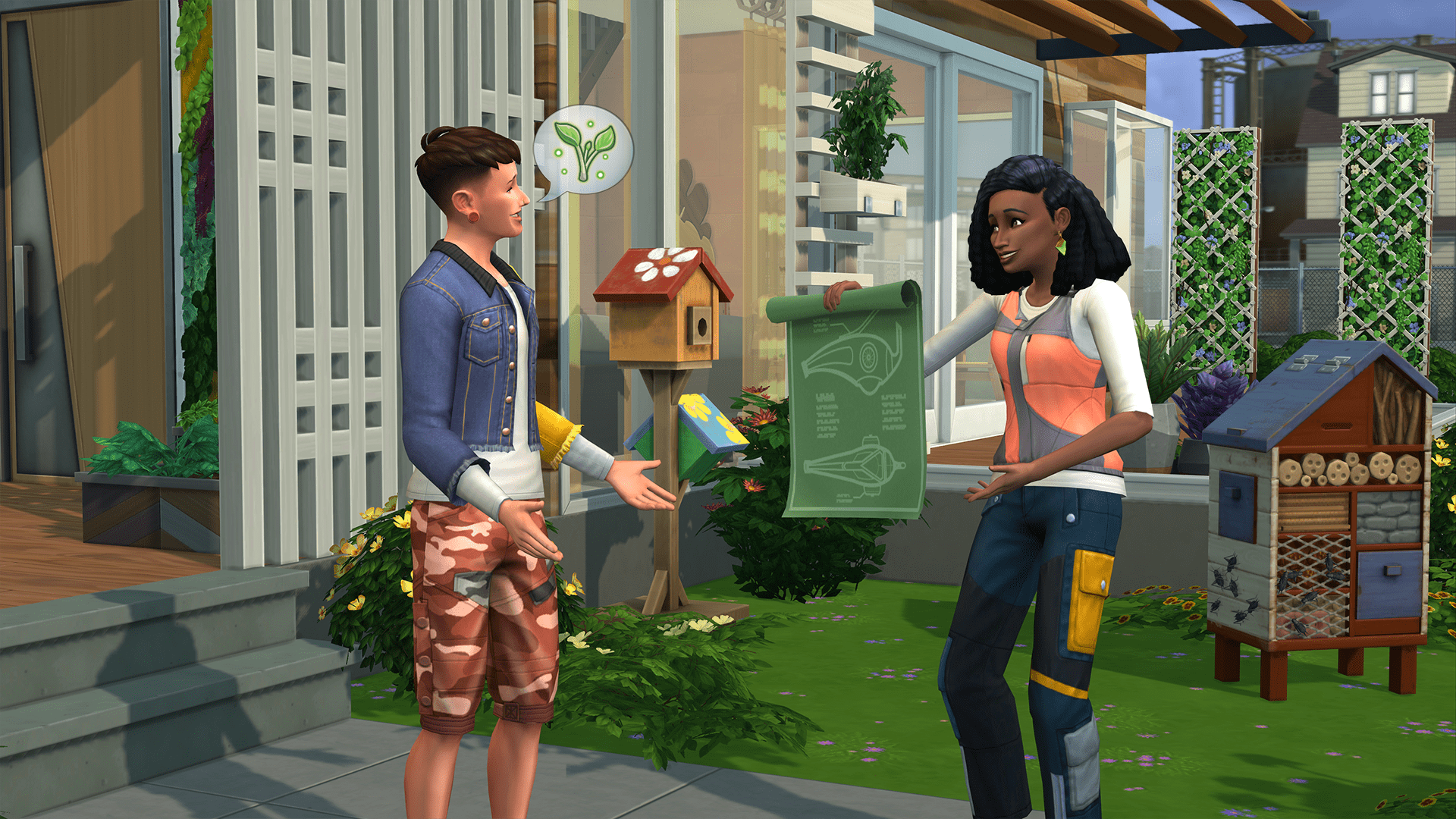 The Sims 4: Eco Living - two Sims discuss environmental measures in a front yard