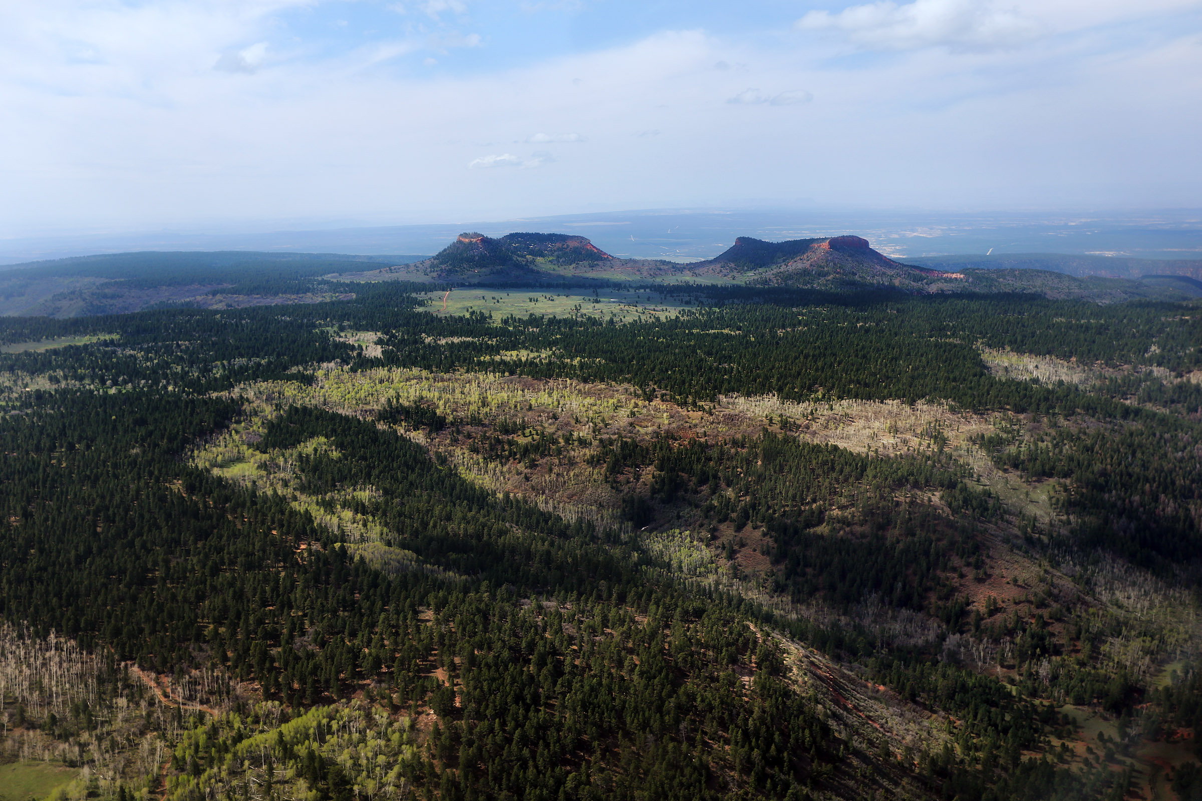 The Bears Ears of the Bears Ears National Monument are pictured from the air.