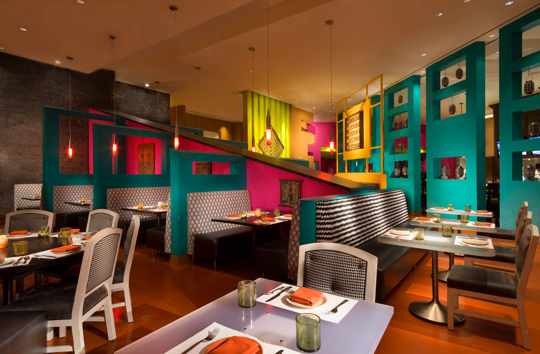 A Mexican restaurant with bright decor.