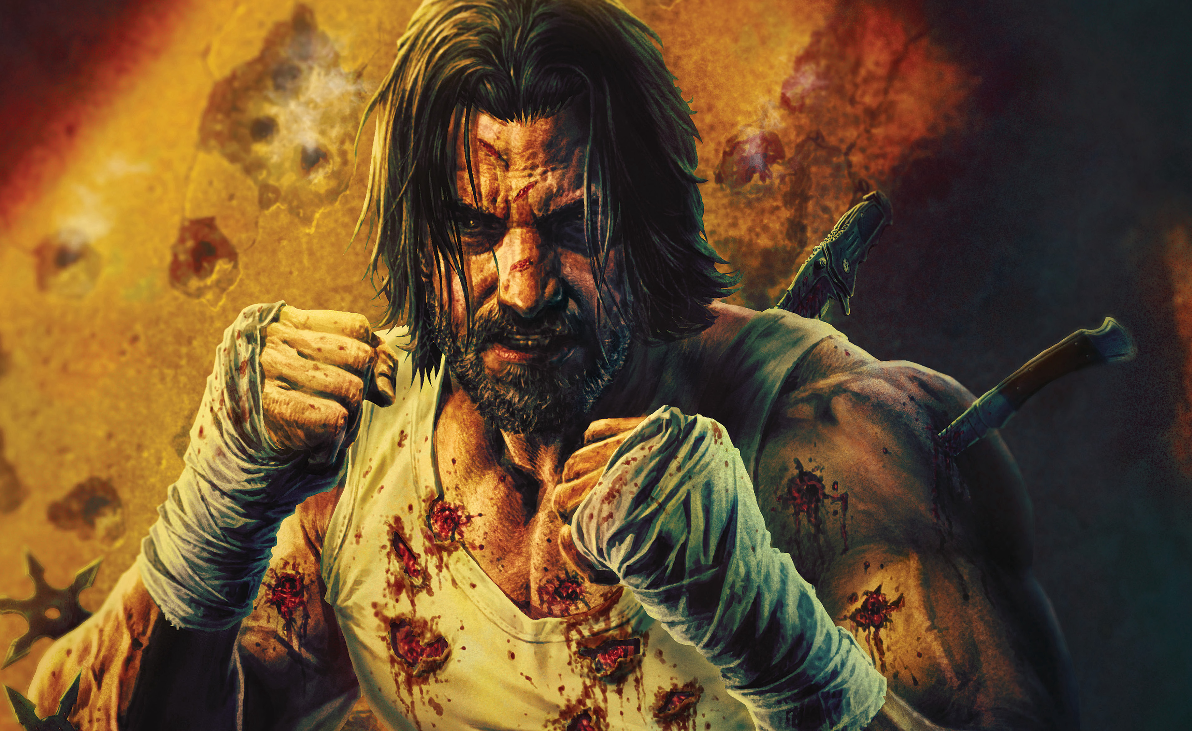 Keanu Reeves as B stabbed in the back with knives wearing a bloodied white t-shirt in a cover for BRZRKR