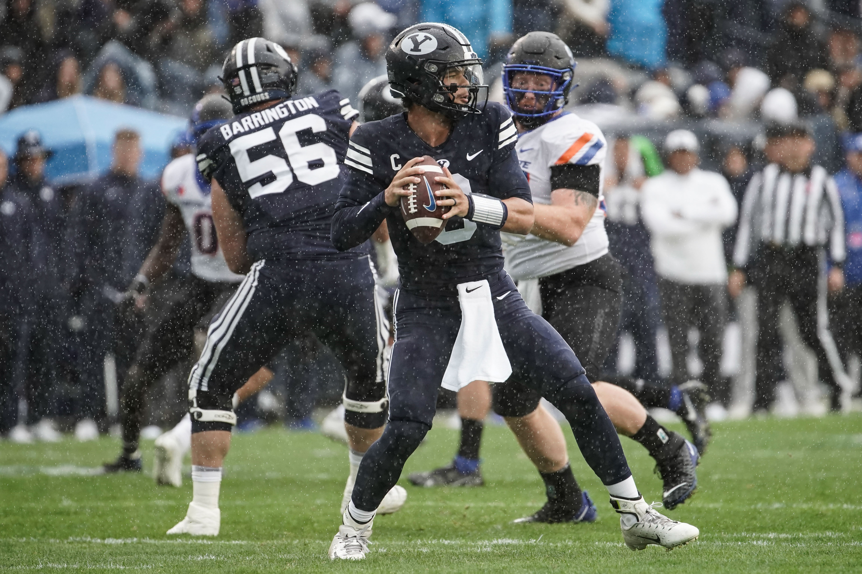 Brigham Young quarterback Jaren Hall looks to throw the ball against Boise State.
