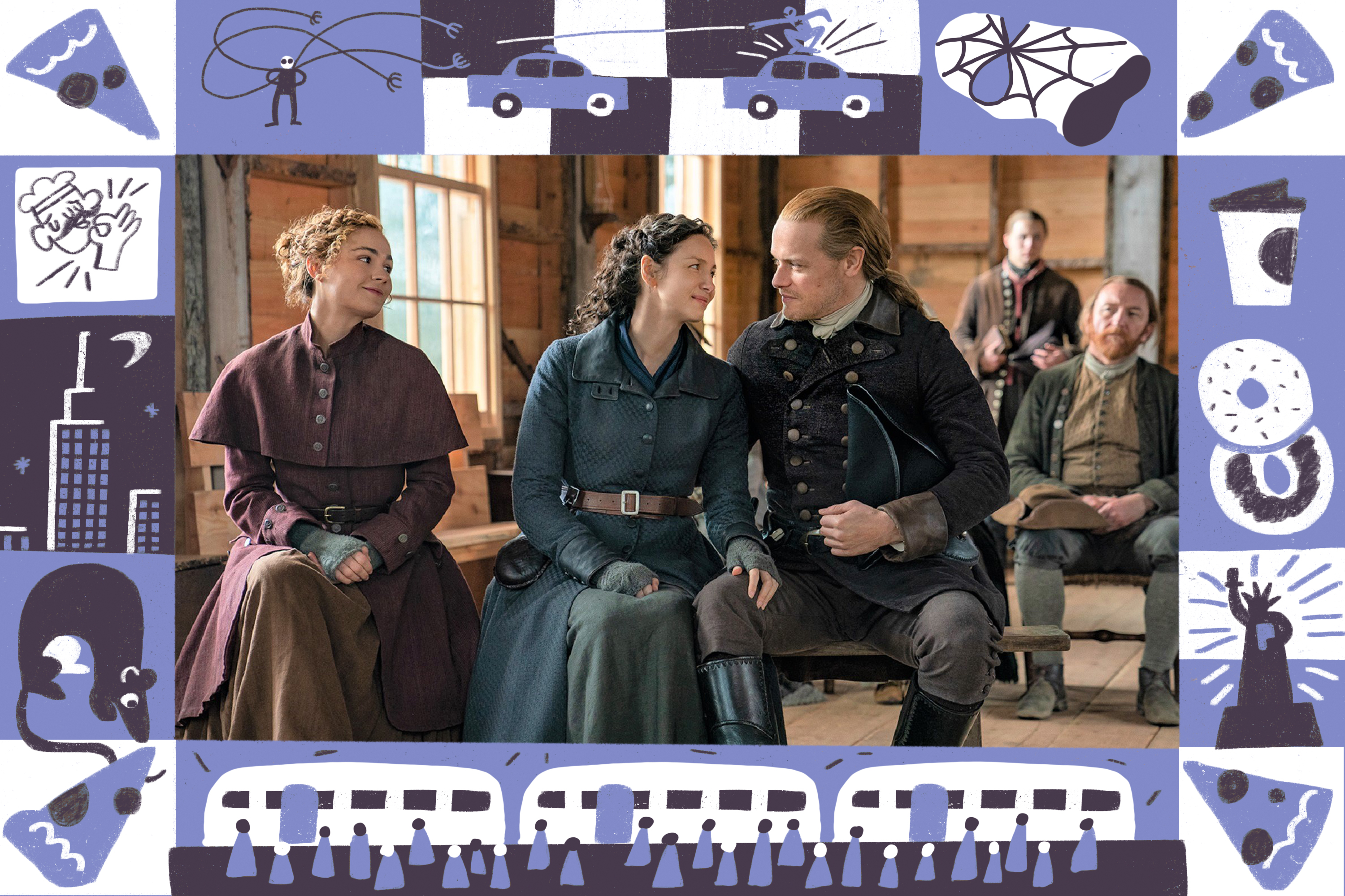 Scene from the TV show Outlander in a frame featuring illustrated icons from New York