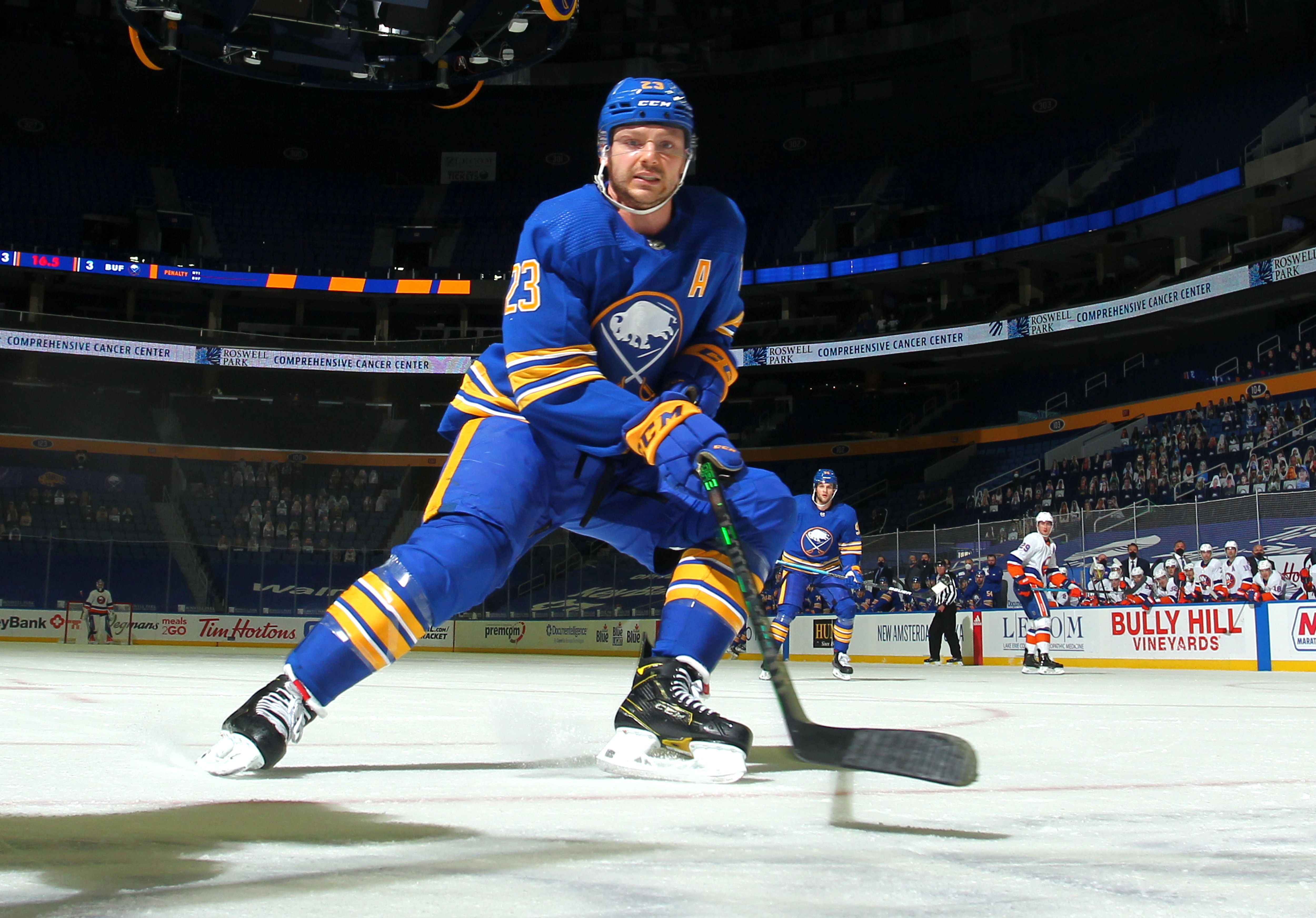 Sam Reinhart #23 of the Buffalo Sabres skates against the New York Islanders during an NHL game on May 4, 2021 at KeyBank Center in Buffalo, New York.