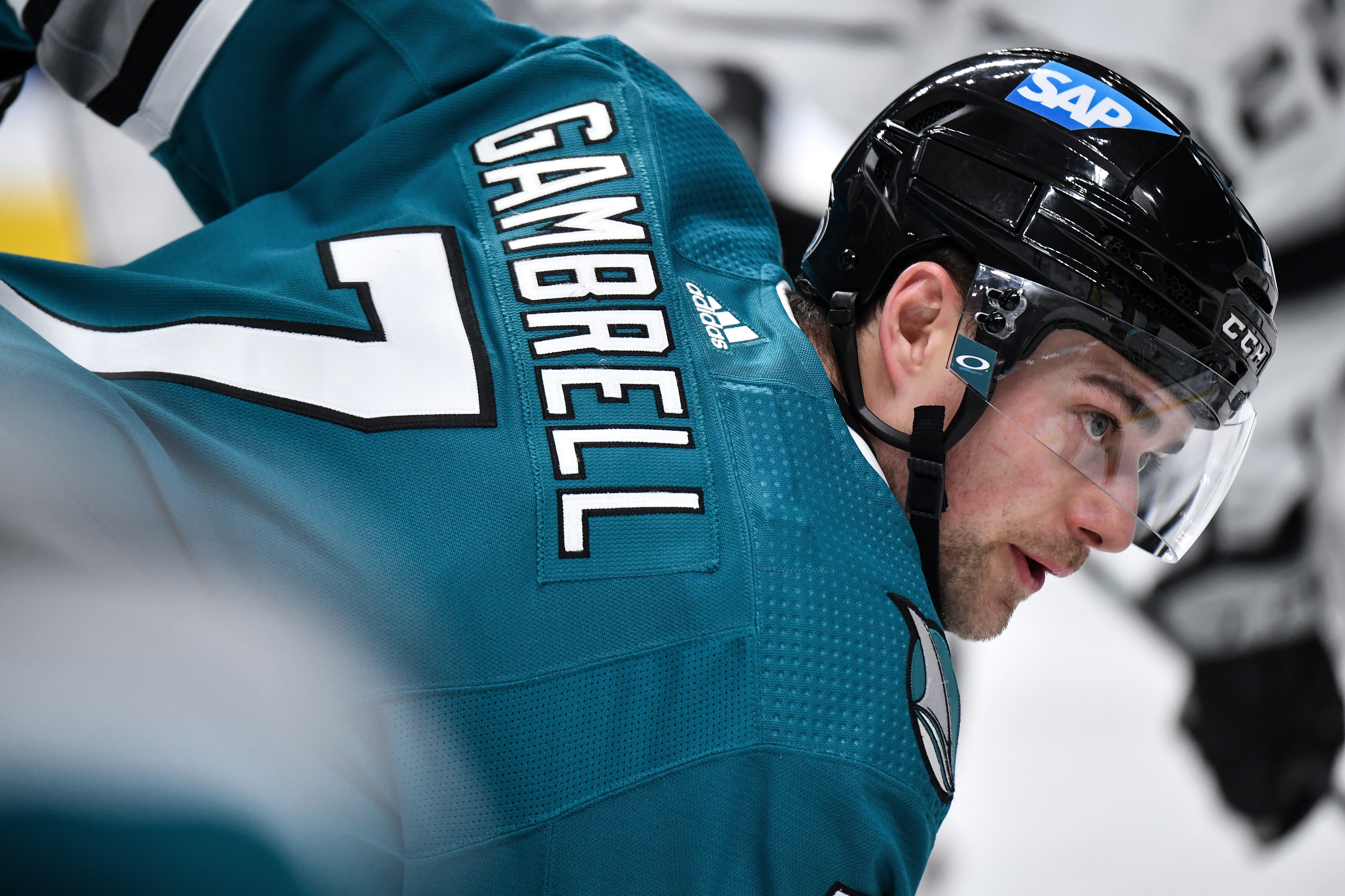 Dylan Gambrell #7 of the San Jose Sharks takes a face-off against the Los Angeles Kings at SAP Center on April 10, 2021 in San Jose, California.