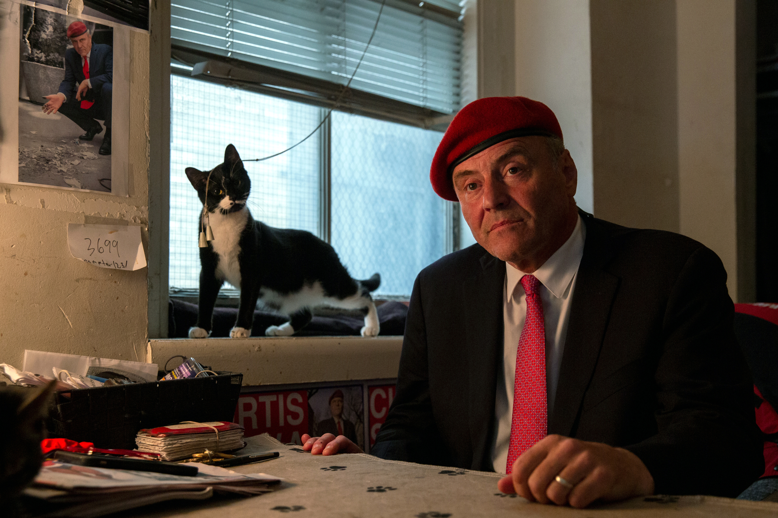 Republican mayoral candidate Curtis Sliwa talks at his Upper West Side studio apartment about his history with the Guardian Angels, July 28, 2021.