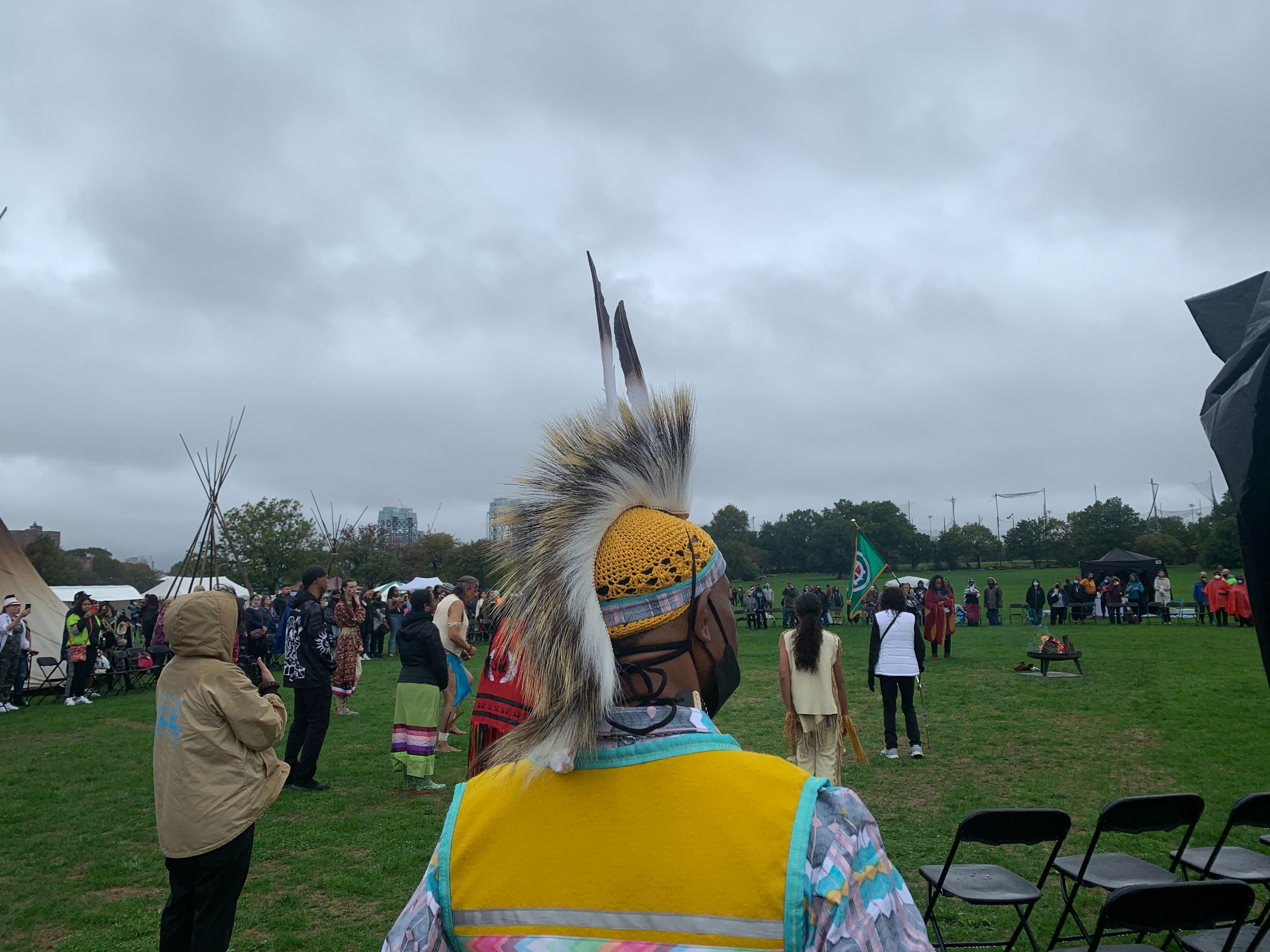 Jay Payne, a descendant of the Cherokee and Blackfeet people, at an Indigenous Peoples' Day celebration on Randall's Island, Oct. 10, 2021.